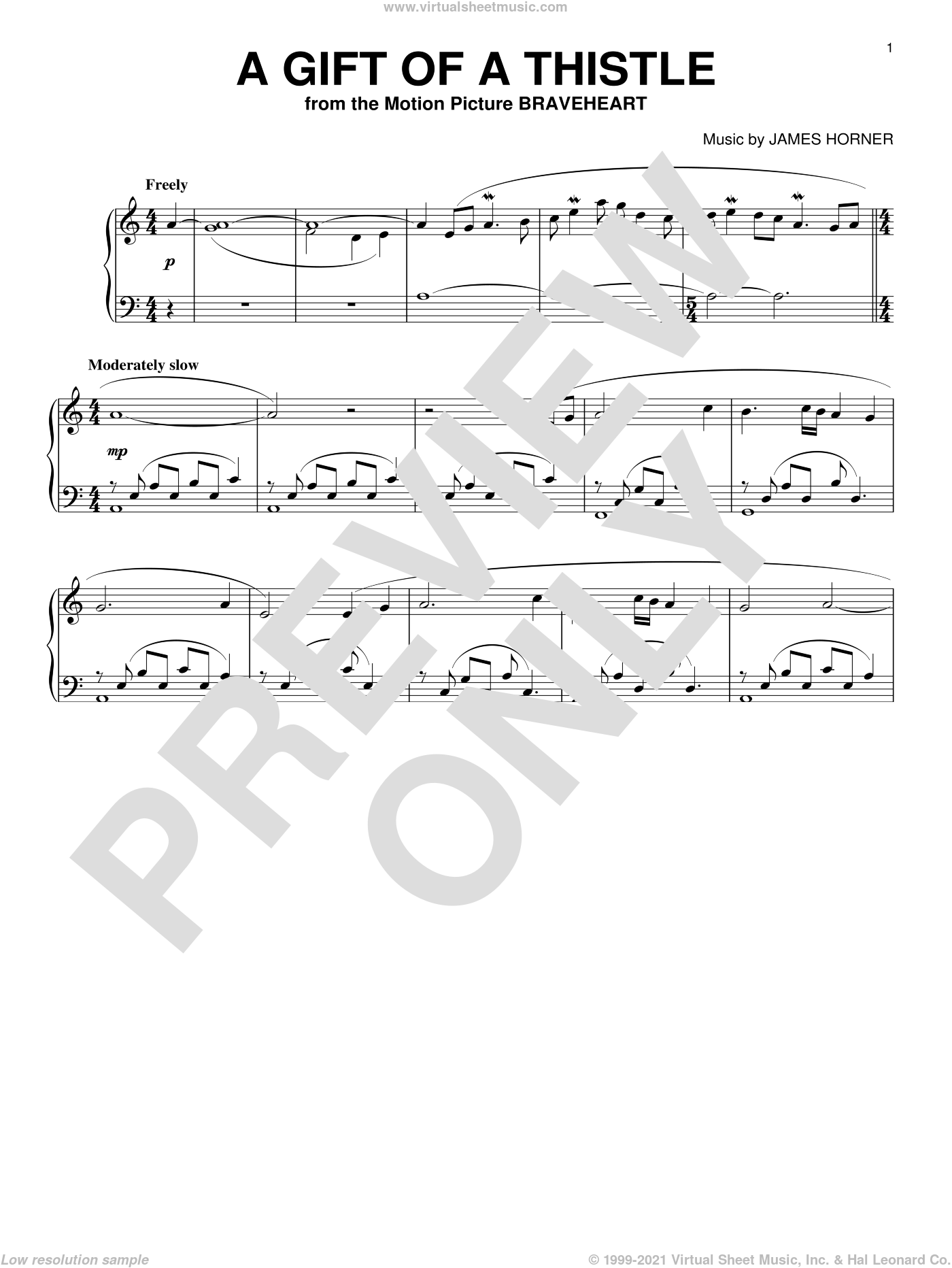 A Gift Of A Thistle sheet music for piano solo by James Horner, intermediate skill level