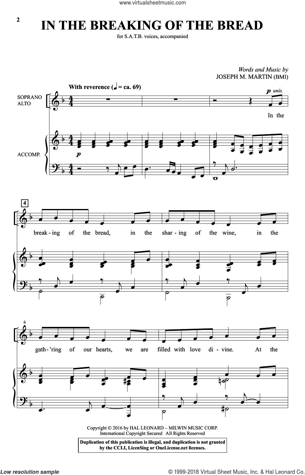 In The Breaking Of The Bread sheet music for choir (SATB) by Joseph M. Martin. Score Image Preview.