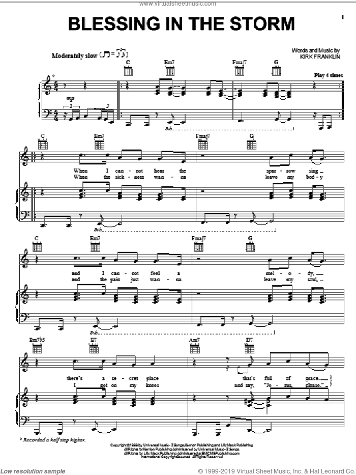 Blessing In The Storm sheet music for voice, piano or guitar by Kirk Franklin. Score Image Preview.
