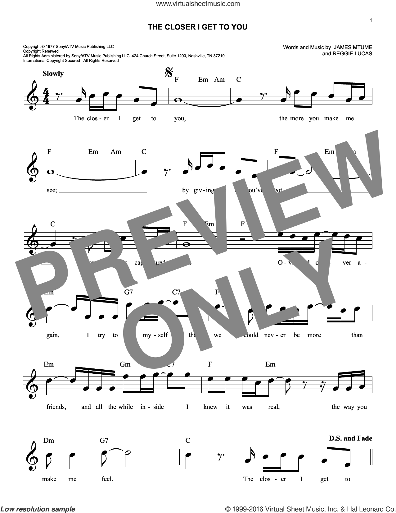 The Closer I Get To You sheet music for voice and other instruments (fake book) by Reggie Lucas. Score Image Preview.