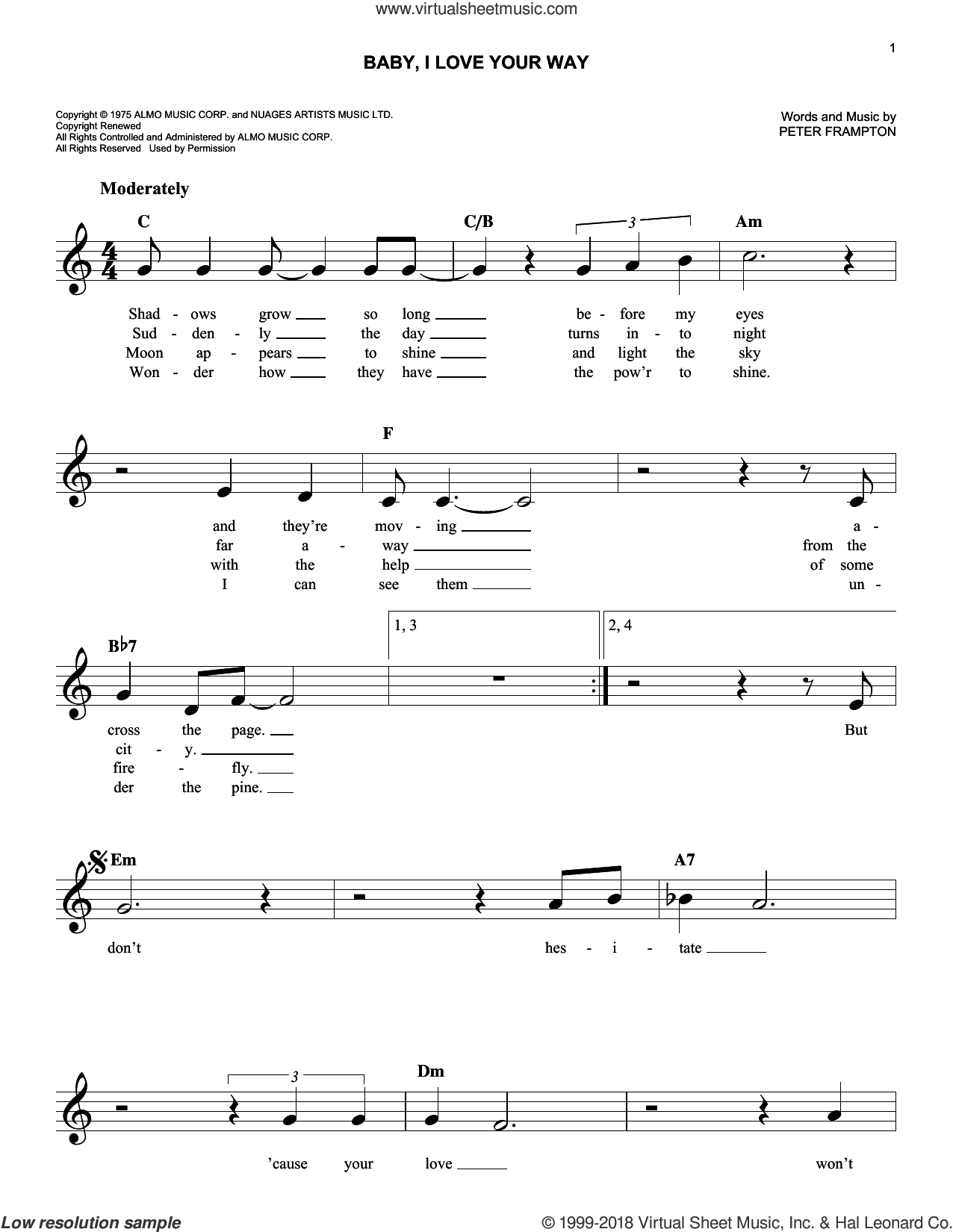 Baby, I Love Your Way sheet music for voice and other instruments (fake book) by Peter Frampton, wedding score, intermediate skill level