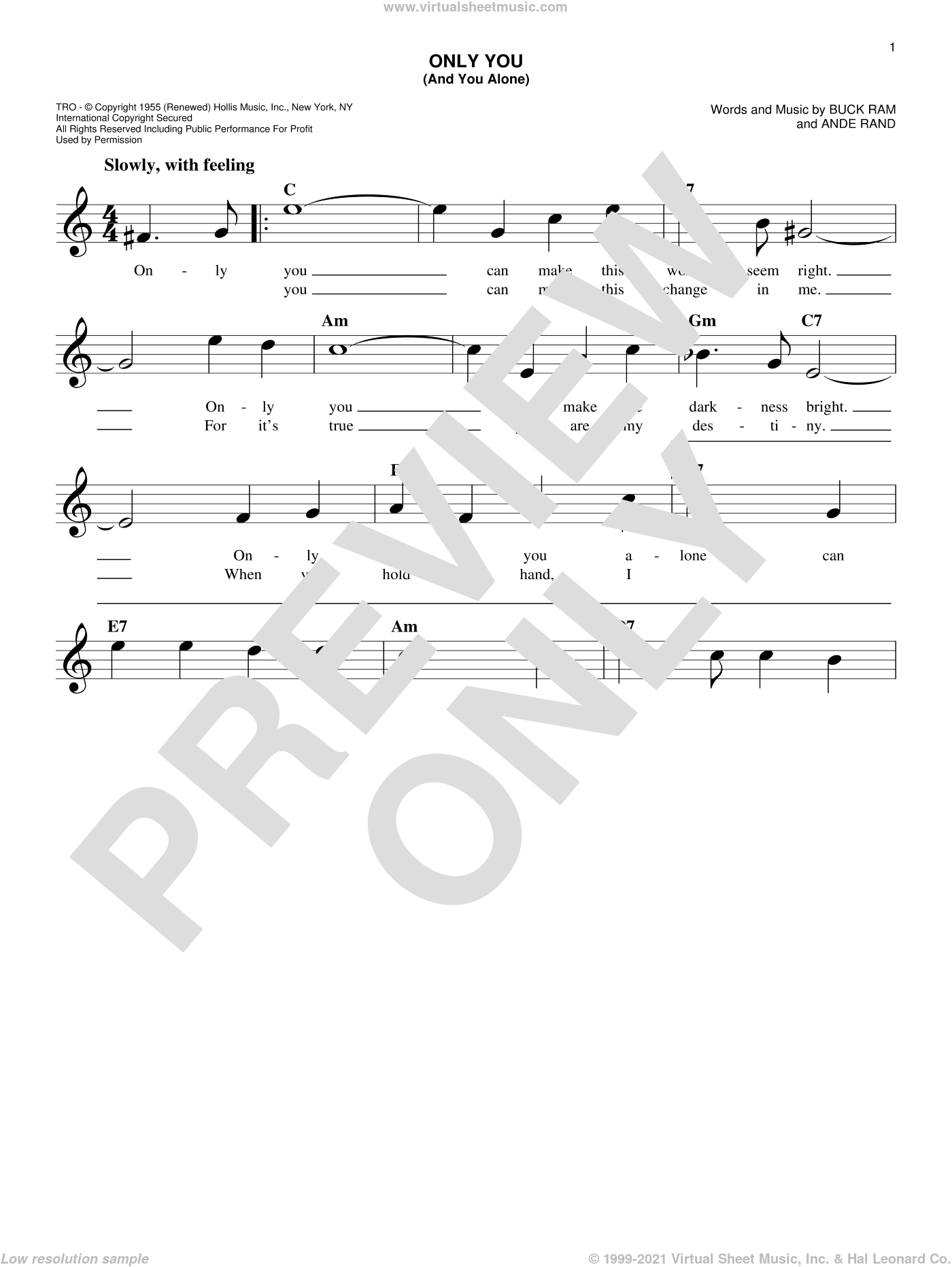 Only You (And You Alone) sheet music for voice and other instruments (fake book) by The Platters, Ande Rand and Buck Ram, wedding score, intermediate skill level