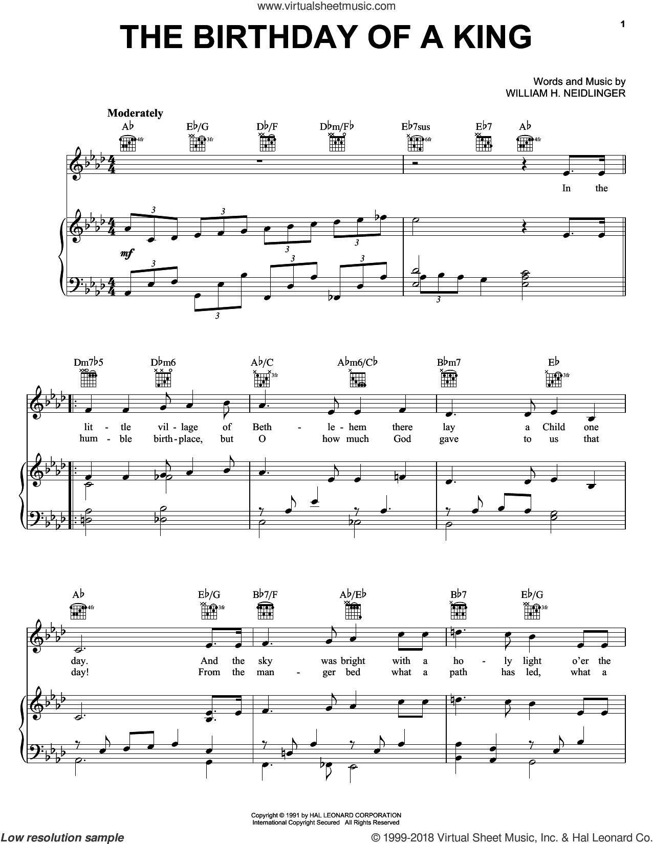 The Birthday of a King (Neidlinger) sheet music for voice, piano or guitar by William Harold Neidlinger. Score Image Preview.