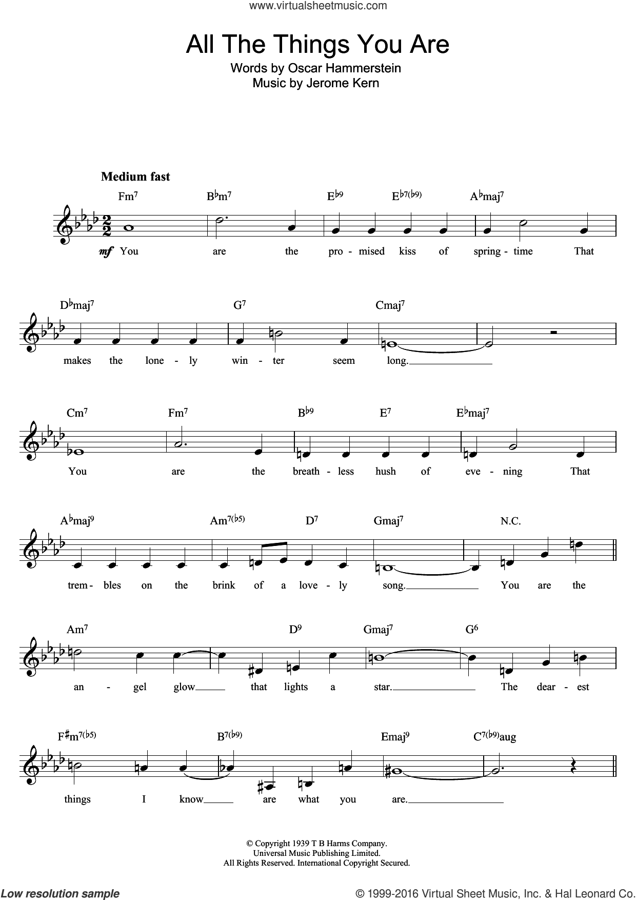 All The Things You Are sheet music for voice and other instruments (fake book) by Oscar II Hammerstein and Jerome Kern, intermediate skill level