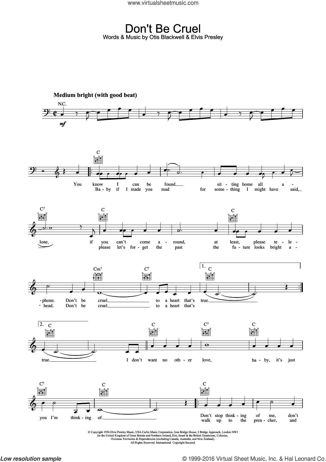 Don't Be Cruel sheet music for voice and other instruments (fake book) by Elvis Presley, intermediate voice. Score Image Preview.