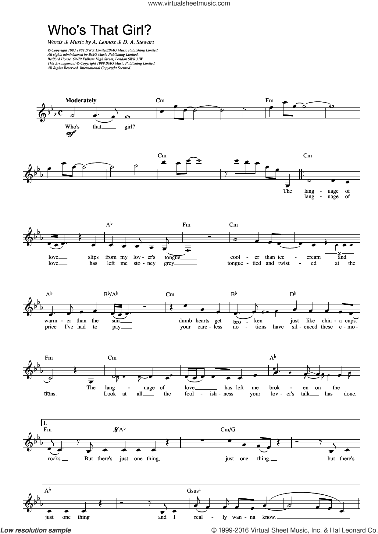Who's That Girl? sheet music for voice and other instruments (fake book) by Eurythmics. Score Image Preview.