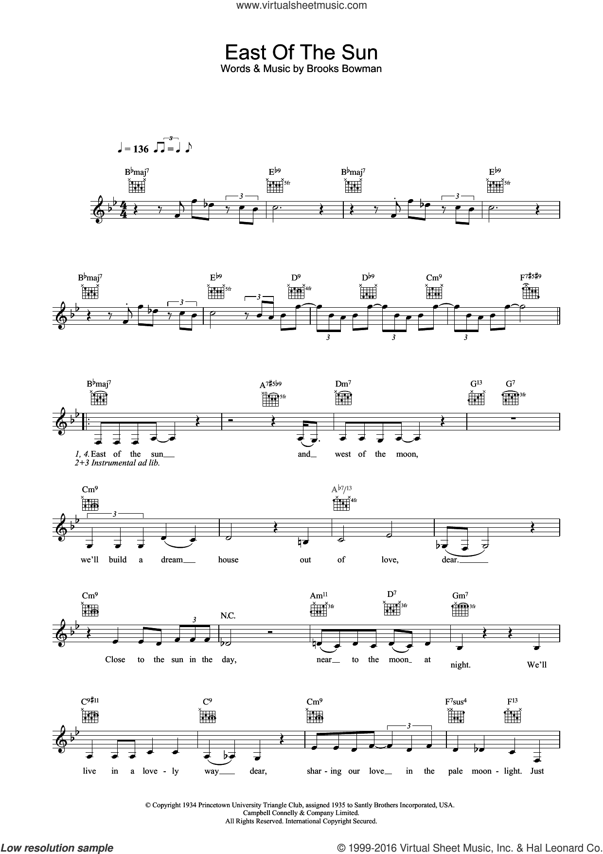 East Of The Sun (And West Of The Moon) sheet music for voice and other instruments (fake book) by Diana Krall and Brooks Bowman, intermediate skill level