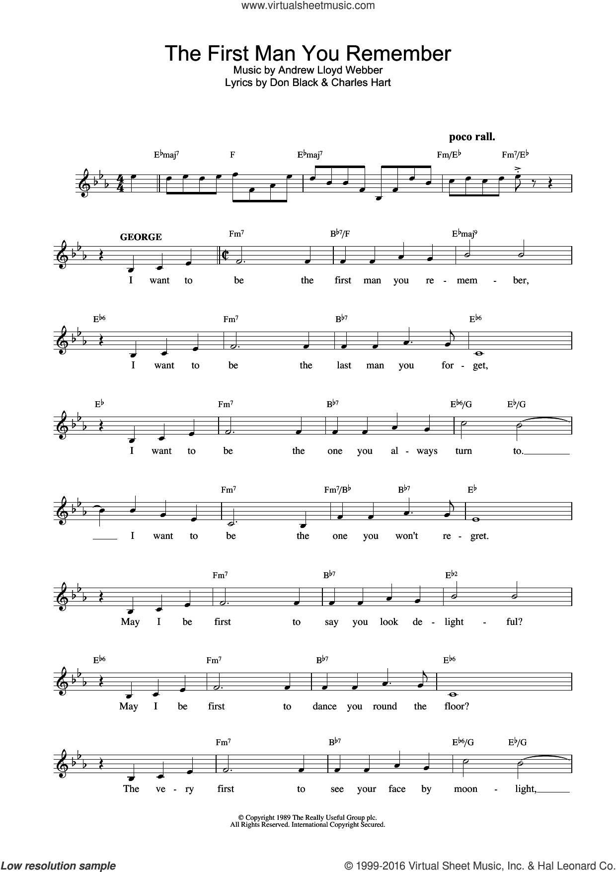 The First Man You Remember (from Aspects Of Love) sheet music for voice and other instruments (fake book) by Andrew Lloyd Webber. Score Image Preview.