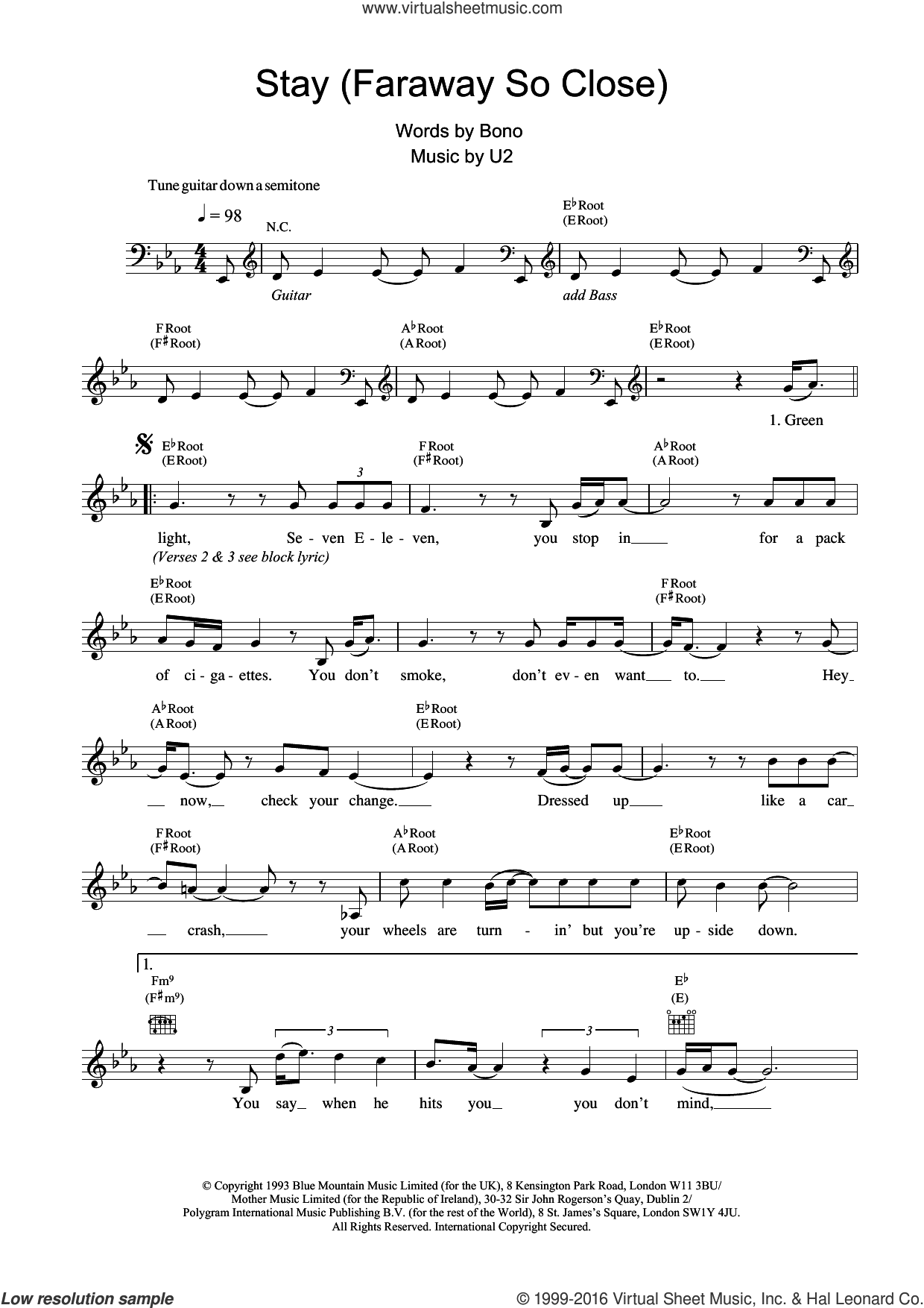 Stay (Faraway, So Close!) sheet music for voice and other instruments (fake book) by U2, intermediate. Score Image Preview.