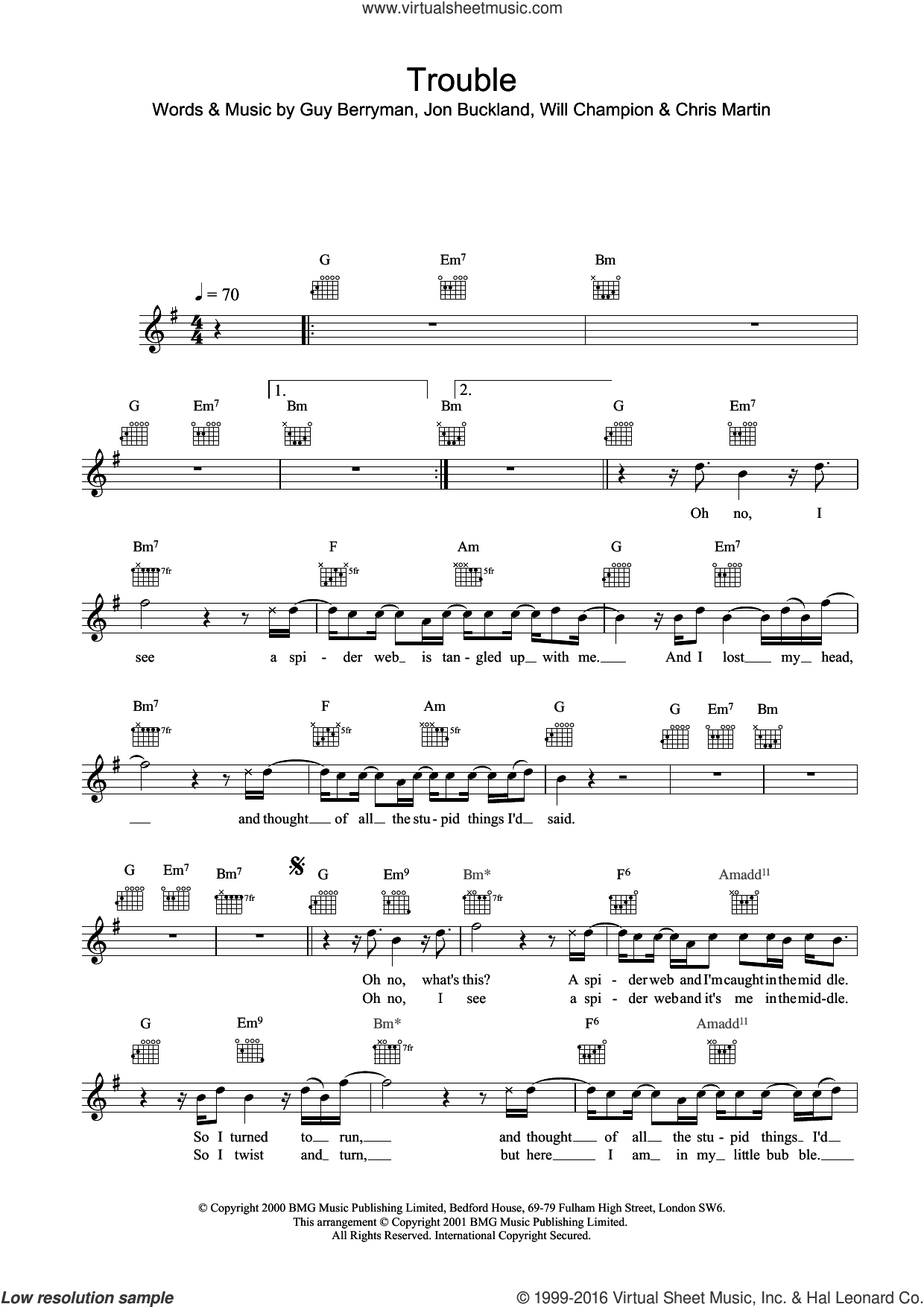 Trouble sheet music for voice and other instruments (fake book) by Coldplay, Chris Martin, Guy Berryman, Jonny Buckland and Will Champion, intermediate skill level