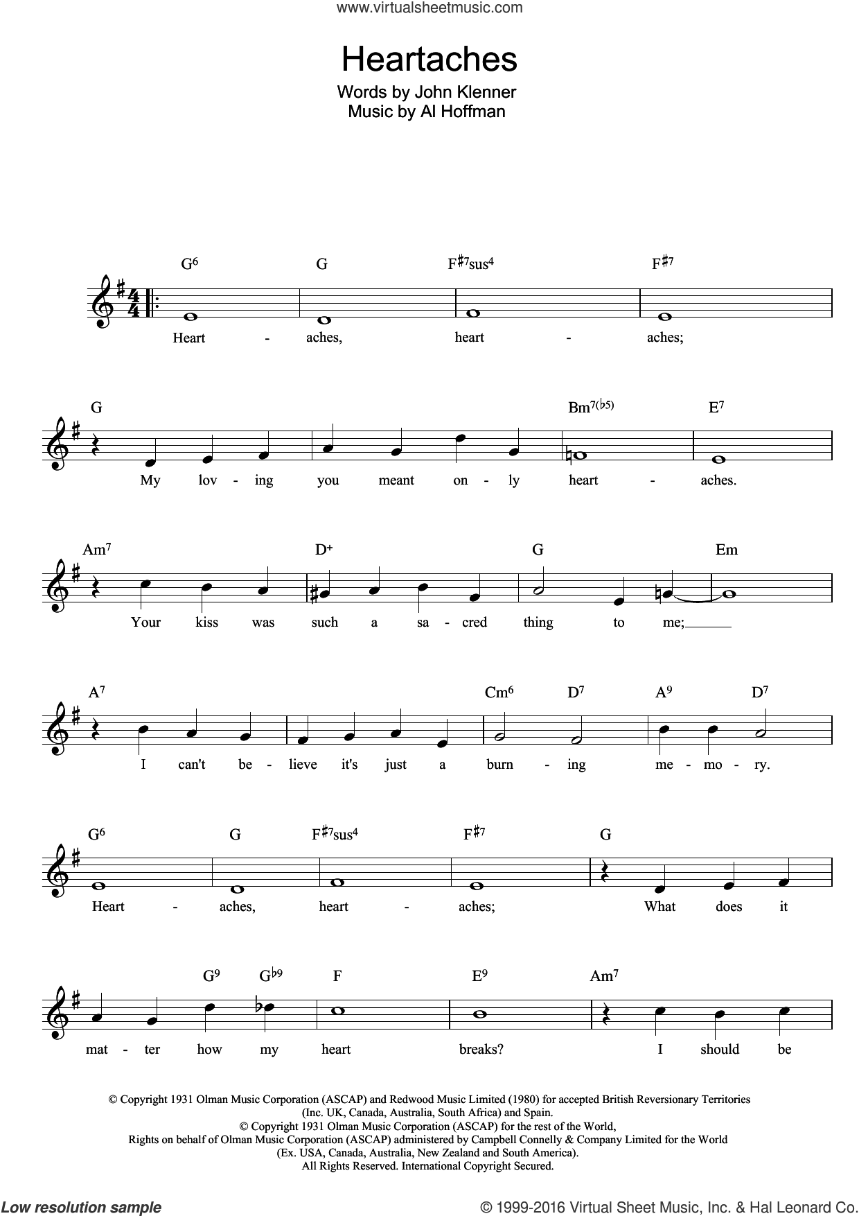 Heartaches sheet music for voice and other instruments (fake book) by Klenner And Hoffman, intermediate skill level