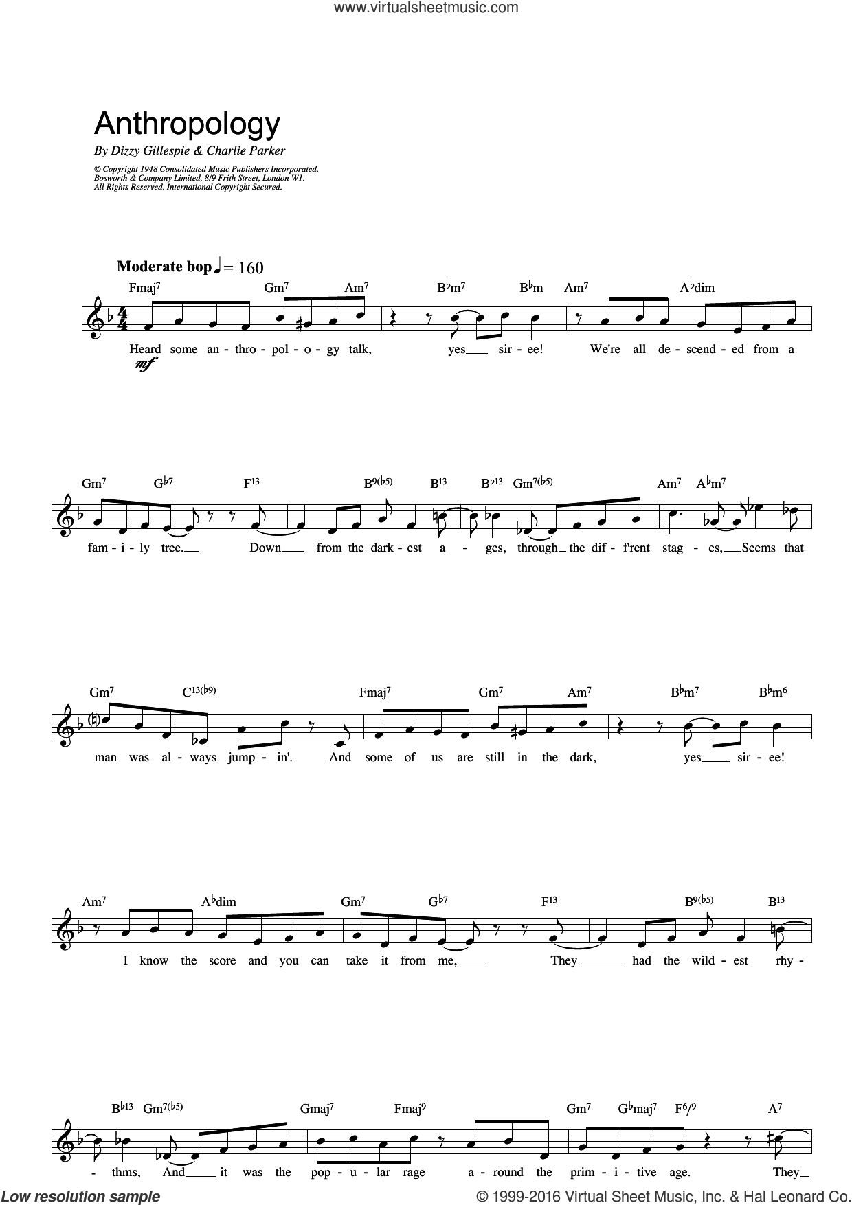 Anthropology sheet music for voice and other instruments (fake book) by Charlie Parker and Dizzy Gillespie, intermediate skill level