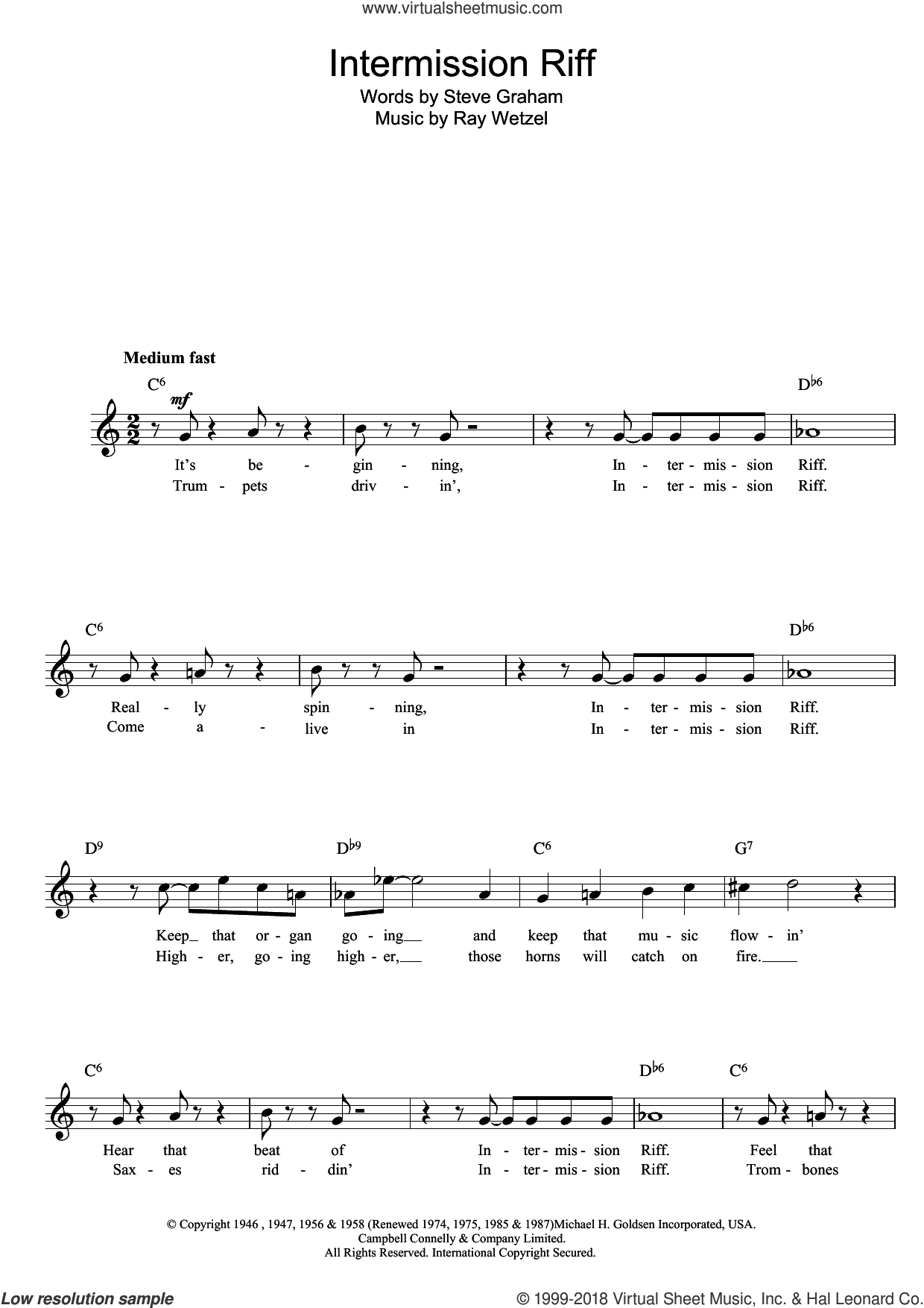 Intermission Riff sheet music for voice and other instruments (fake book) by Ray Wetzel. Score Image Preview.