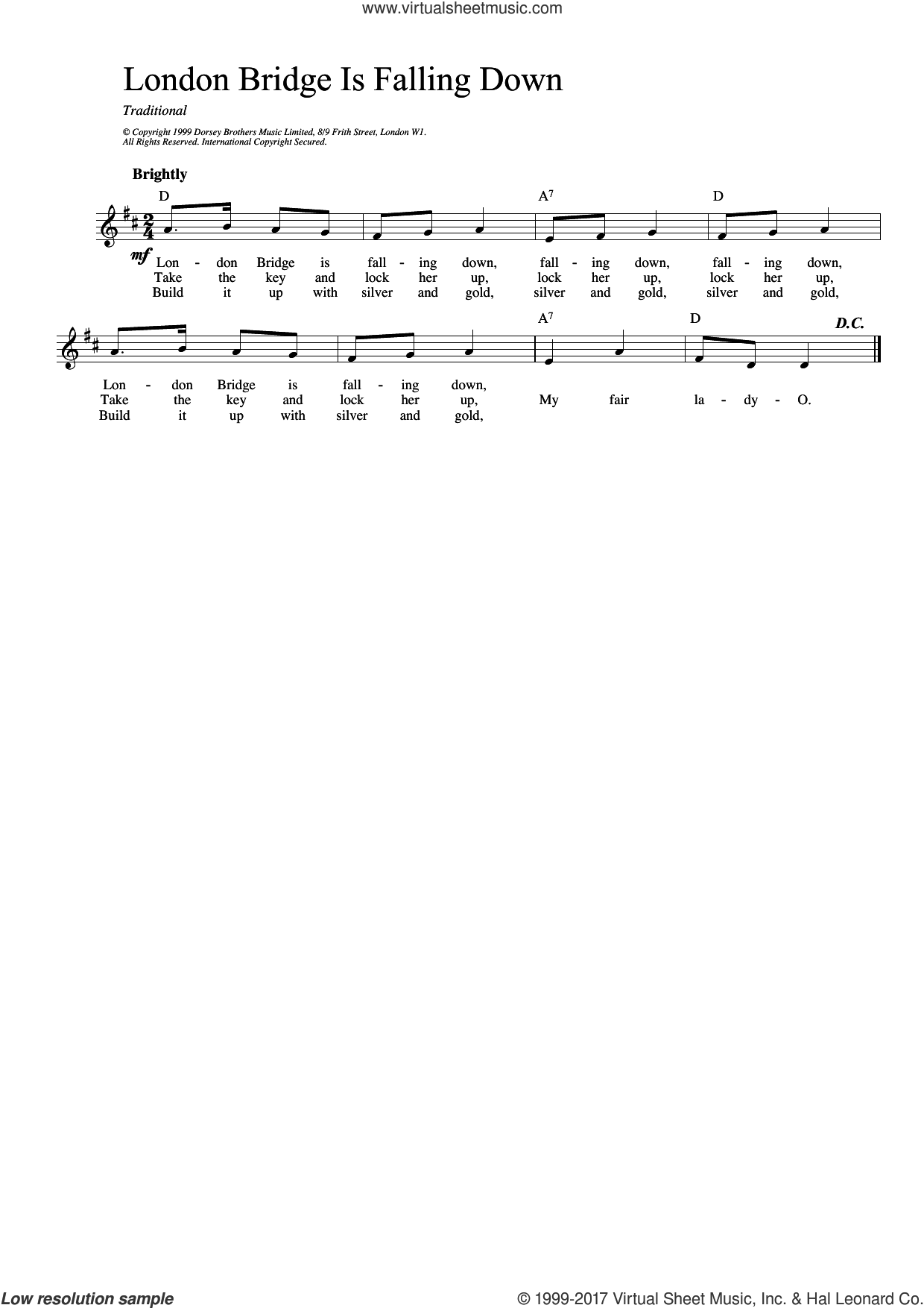 London Bridge sheet music for voice and other instruments (fake book), intermediate. Score Image Preview.