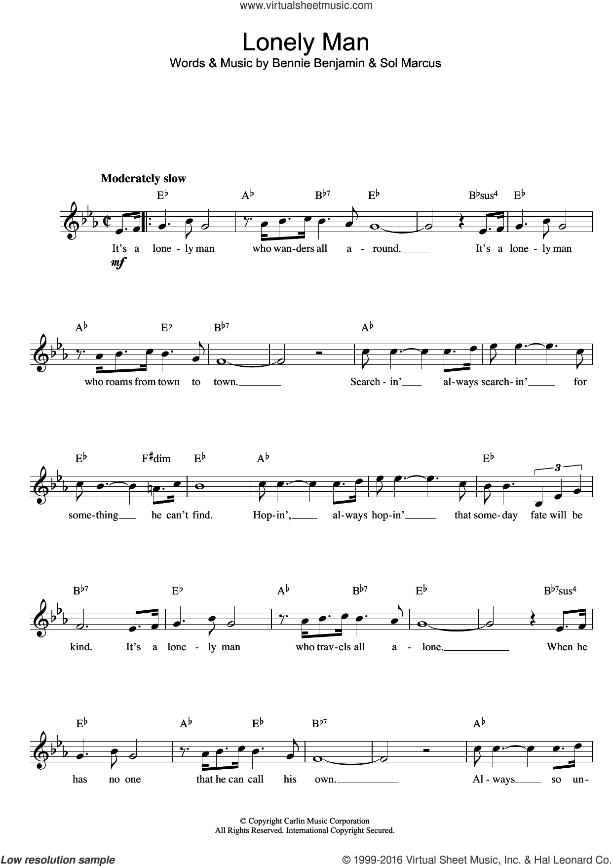 Lonely Man sheet music for voice and other instruments (fake book) by Bennie Benjamin and Sol Marcus, intermediate skill level