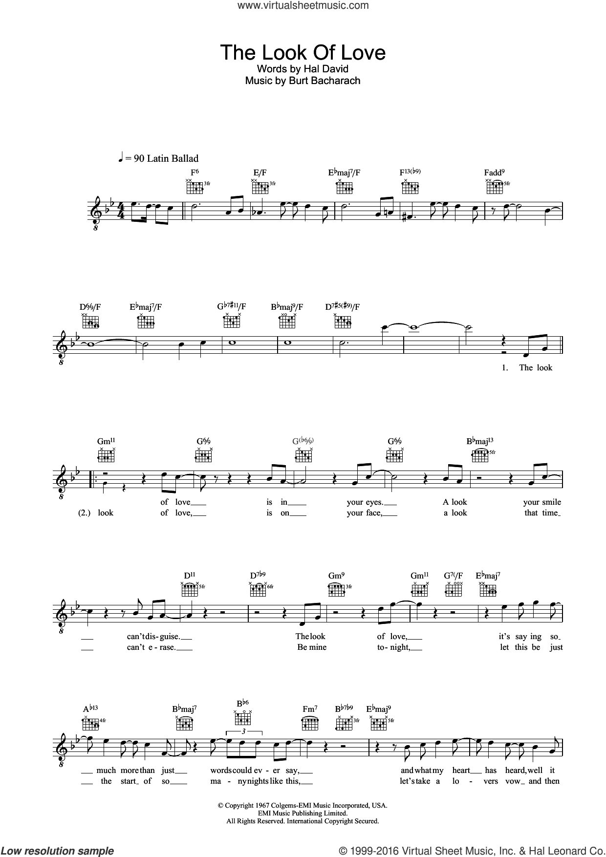 The Look Of Love sheet music for voice and other instruments (fake book) by Diana Krall, Burt Bacharach and Hal David, intermediate. Score Image Preview.