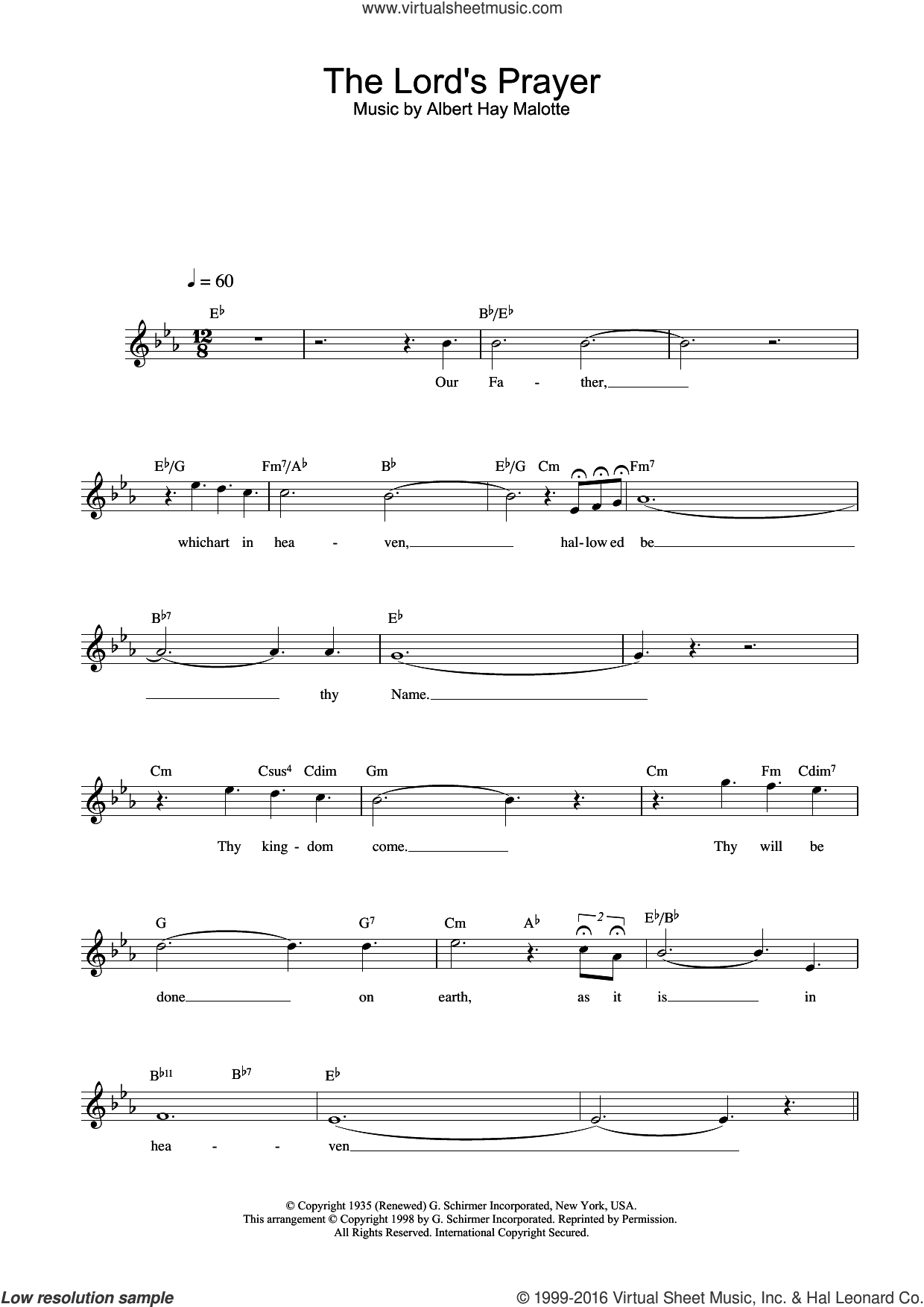 The Lord's Prayer sheet music for voice and other instruments (fake book) by Charlotte Church and Albert H. Malotte, intermediate skill level