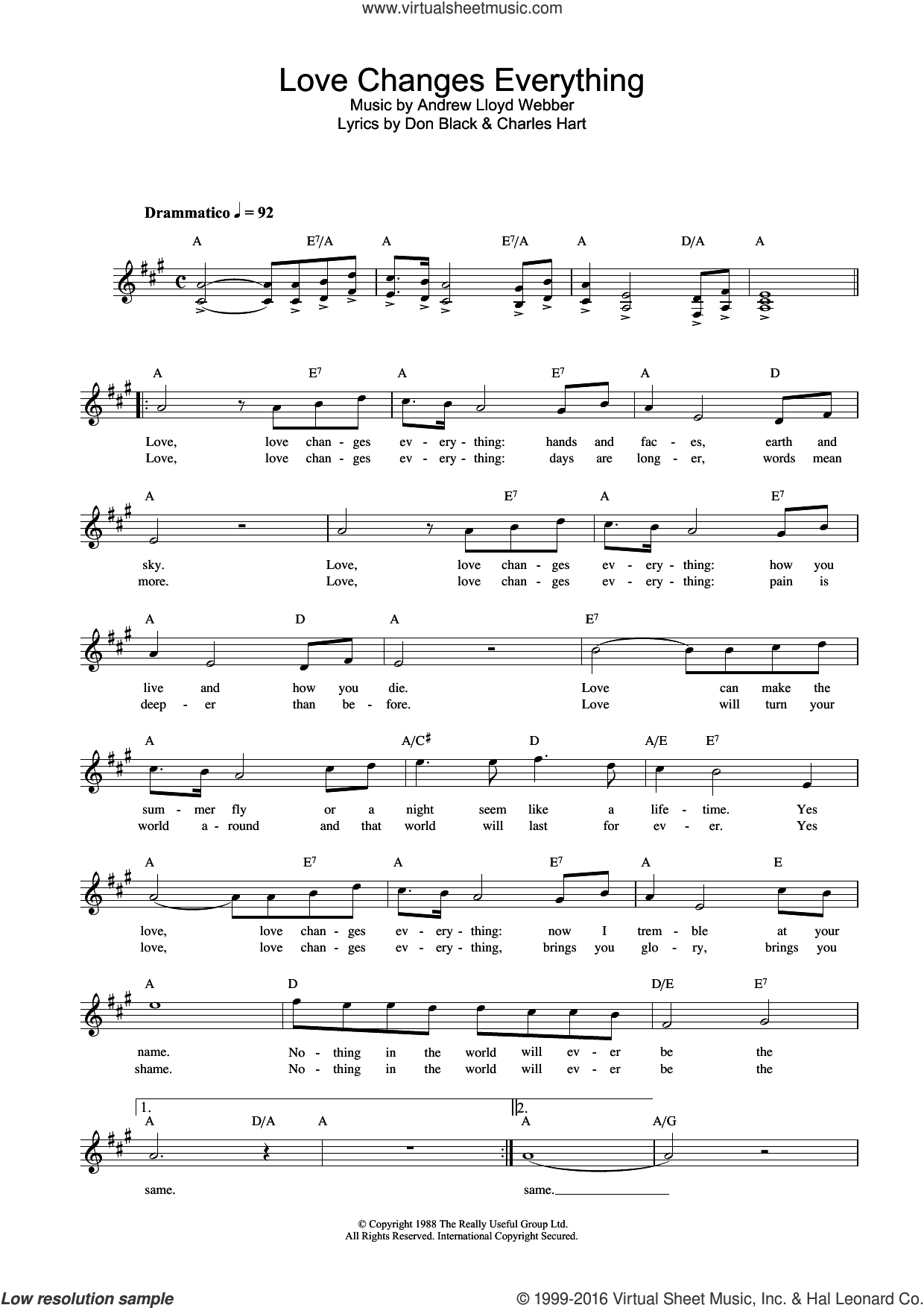 Love Changes Everything (from Aspects Of Love) sheet music for voice and other instruments (fake book) by Don Black, Michael Ball, Andrew Lloyd Webber and Charles Hart. Score Image Preview.
