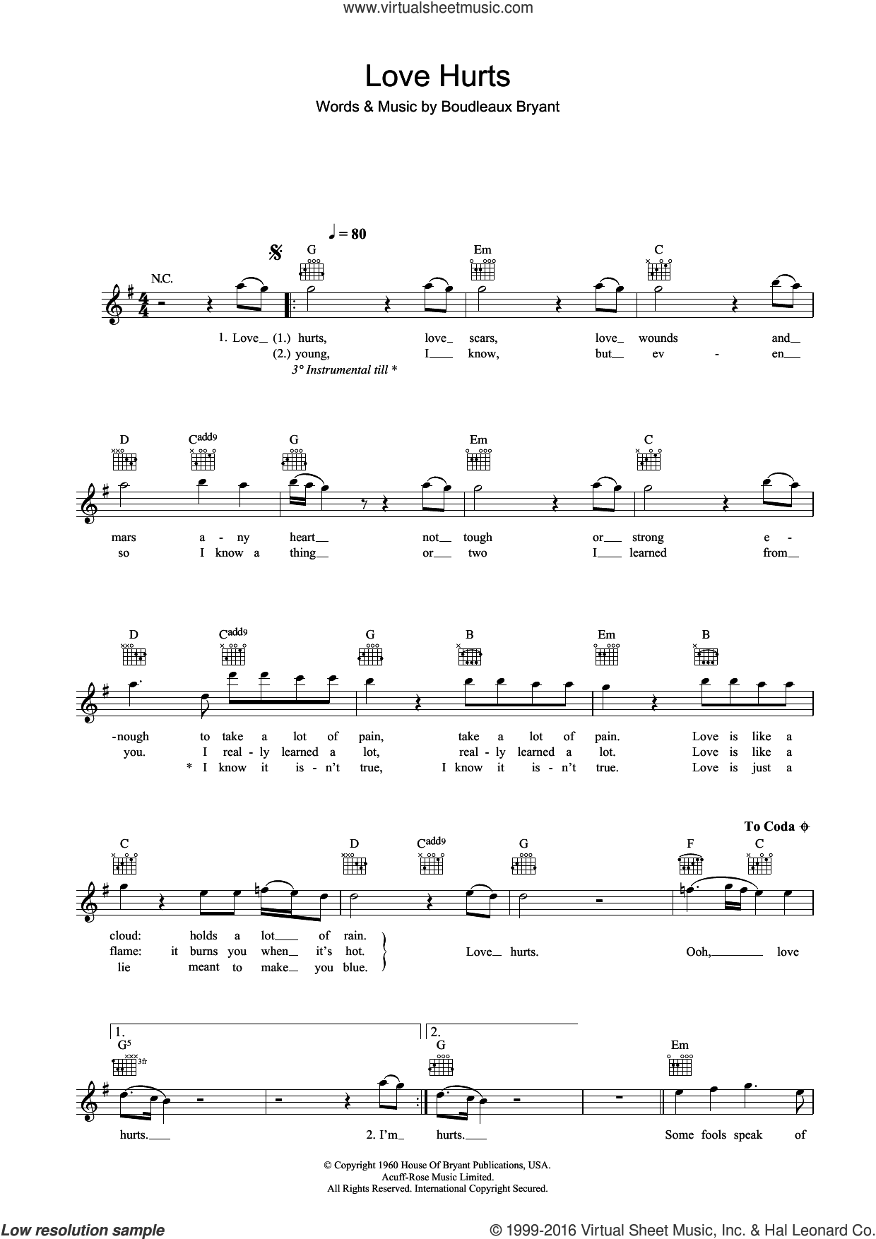 Love Hurts sheet music for voice and other instruments (fake book) by Nazareth and Boudleaux Bryant. Score Image Preview.