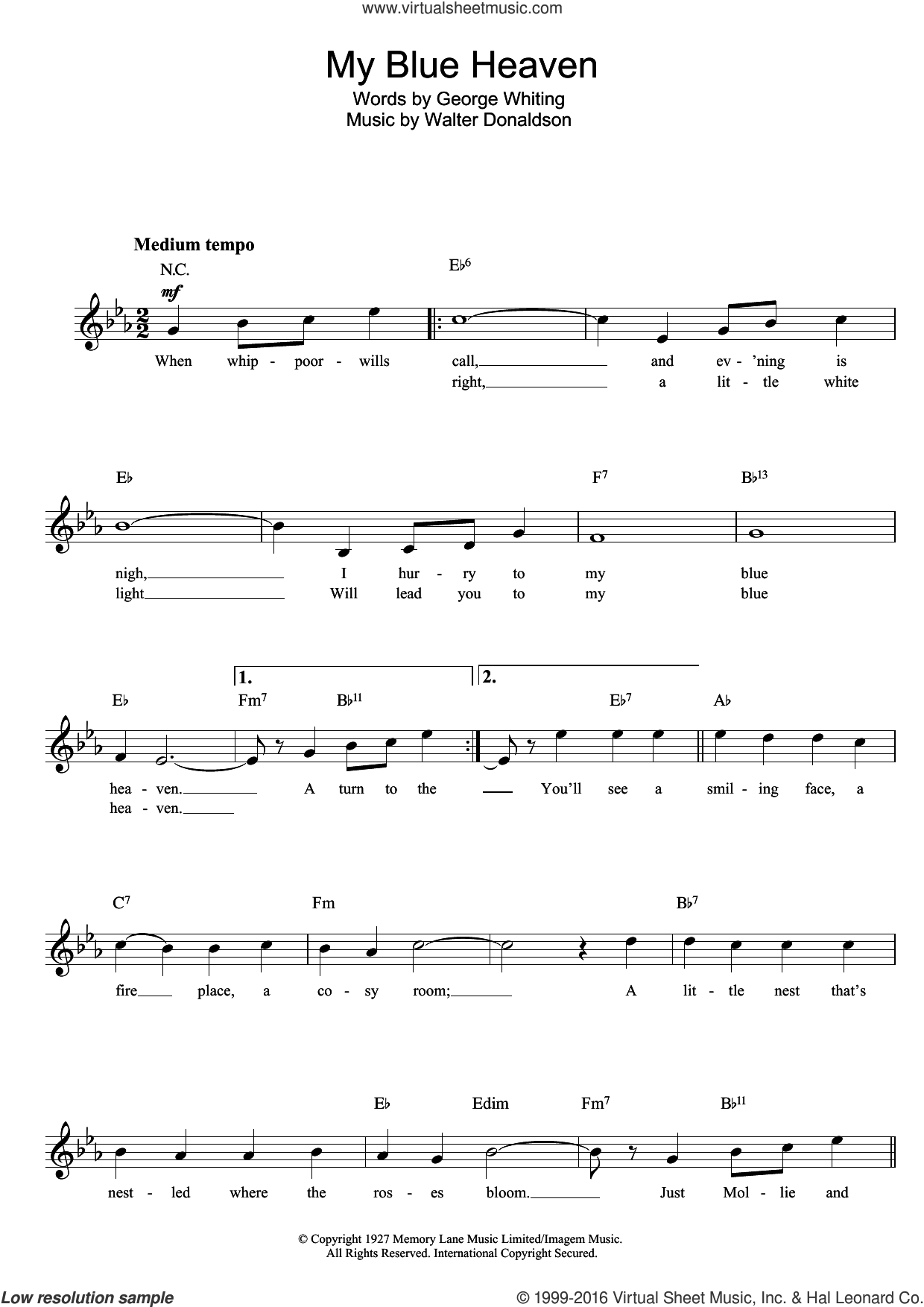 My Blue Heaven sheet music for voice and other instruments (fake book) by Walter Donaldson, intermediate