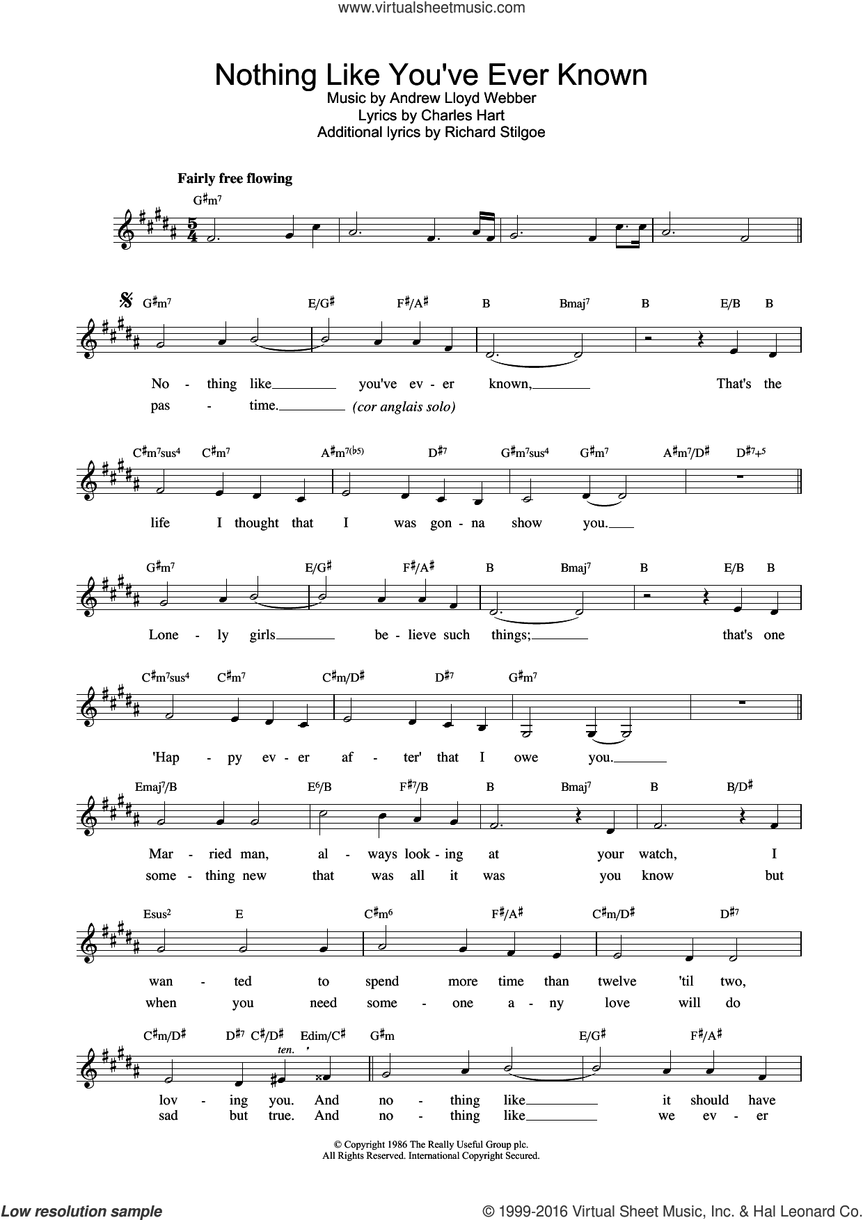 Nothing Like You've Ever Known (from Tell Me On A Sunday) sheet music for voice and other instruments (fake book) by Andrew Lloyd Webber and Sarah Brightman, intermediate voice. Score Image Preview.
