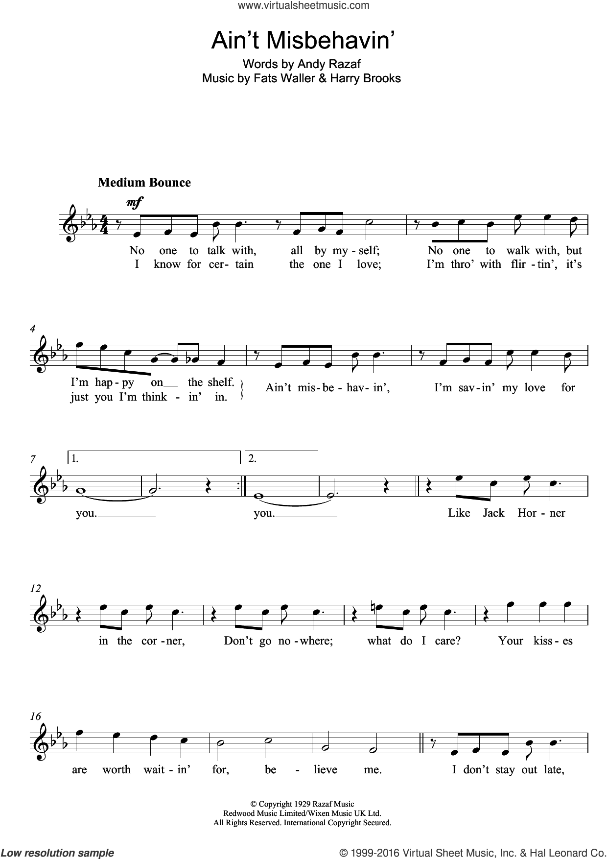 Ain't Misbehavin' sheet music for voice and other instruments (fake book) by Frank Sinatra, Andy Razaf, Harry Brooks and Thomas Waller, intermediate skill level