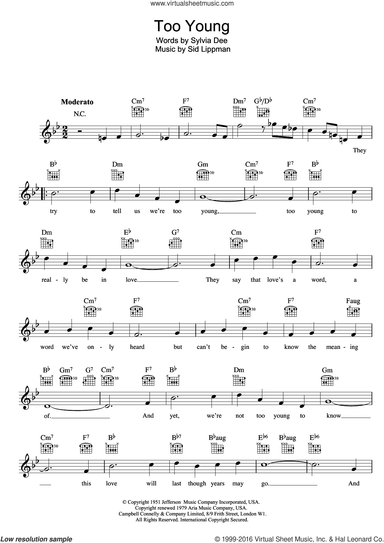 Too Young sheet music for voice and other instruments (fake book) by Nat King Cole, Sidney Lippman and Sylvia Dee, intermediate skill level