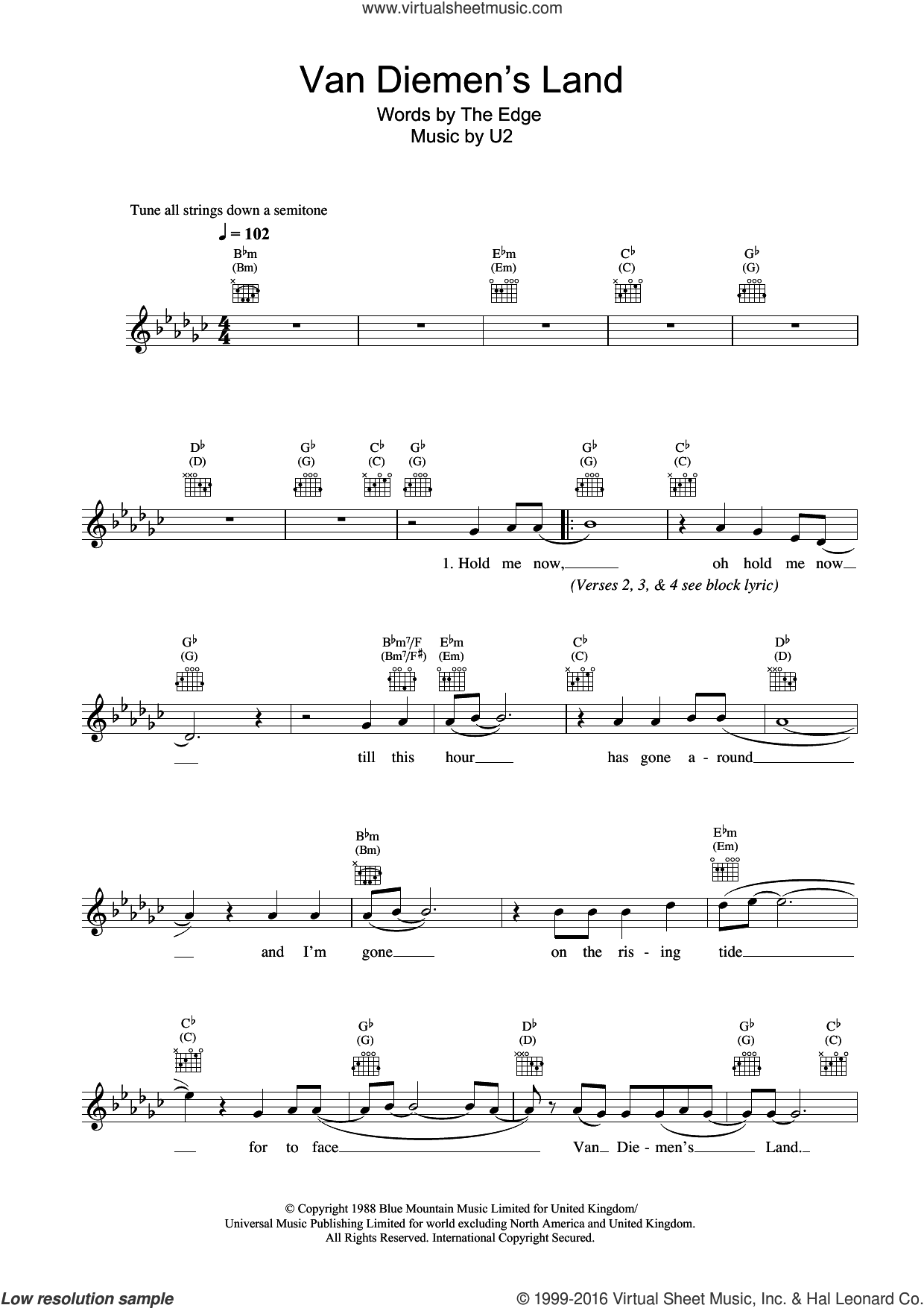 Van Diemen's Land sheet music for voice and other instruments (fake book) by U2 and The Edge, intermediate skill level
