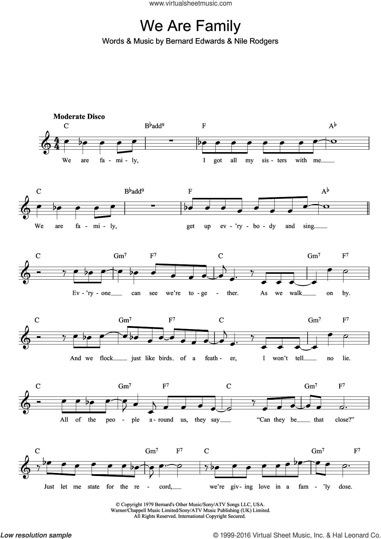 We Are Family sheet music for voice and other instruments (fake book) by Sister Sledge, Bernard Edwards and Nile Rodgers, intermediate skill level