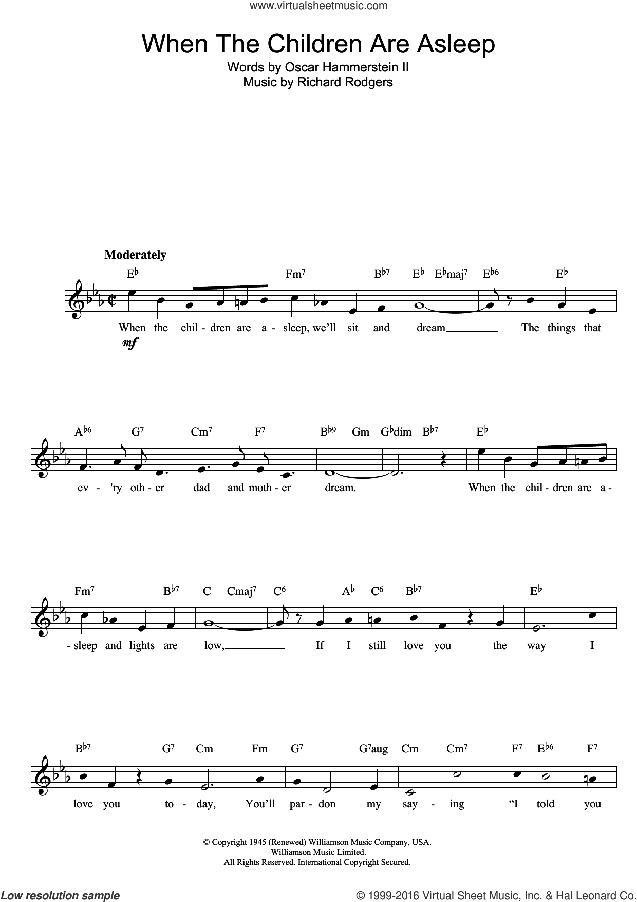 When The Children Are Asleep (from Carousel) sheet music for voice and other instruments (fake book) by Richard Rodgers, Rodgers & Hammerstein and Oscar II Hammerstein, intermediate skill level