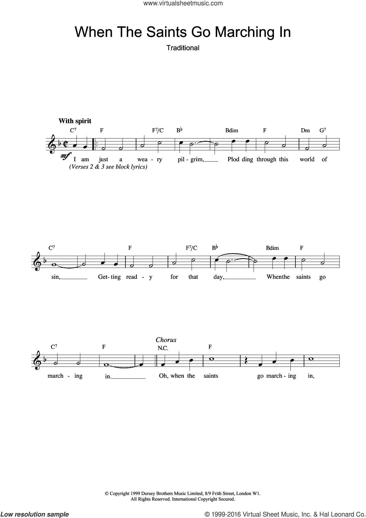 When The Saints Go Marching In sheet music for voice and other instruments (fake book). Score Image Preview.