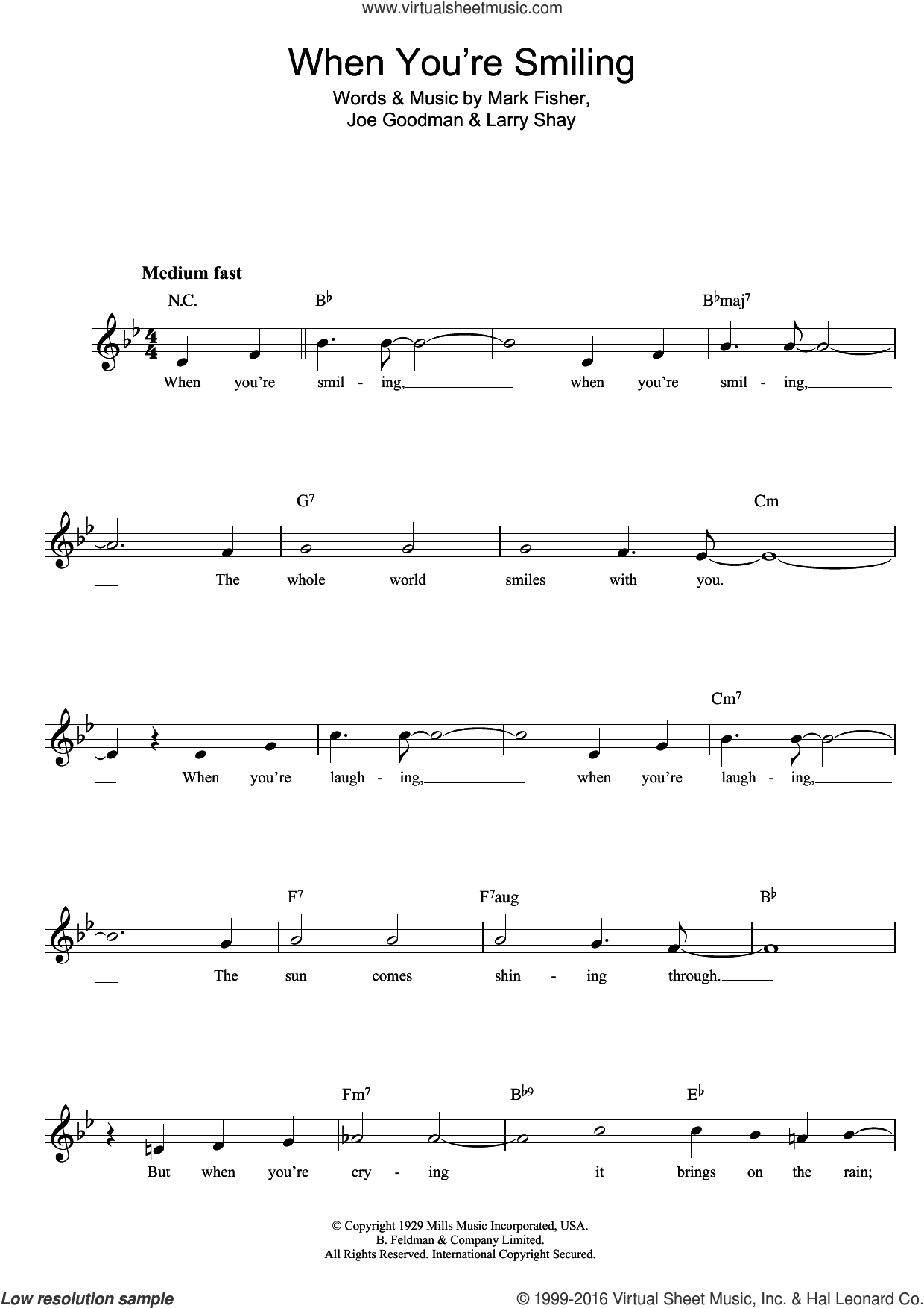 When You're Smiling (The Whole World Smiles With You) sheet music for voice and other instruments (fake book) by Mark Fisher and William Salter, intermediate skill level