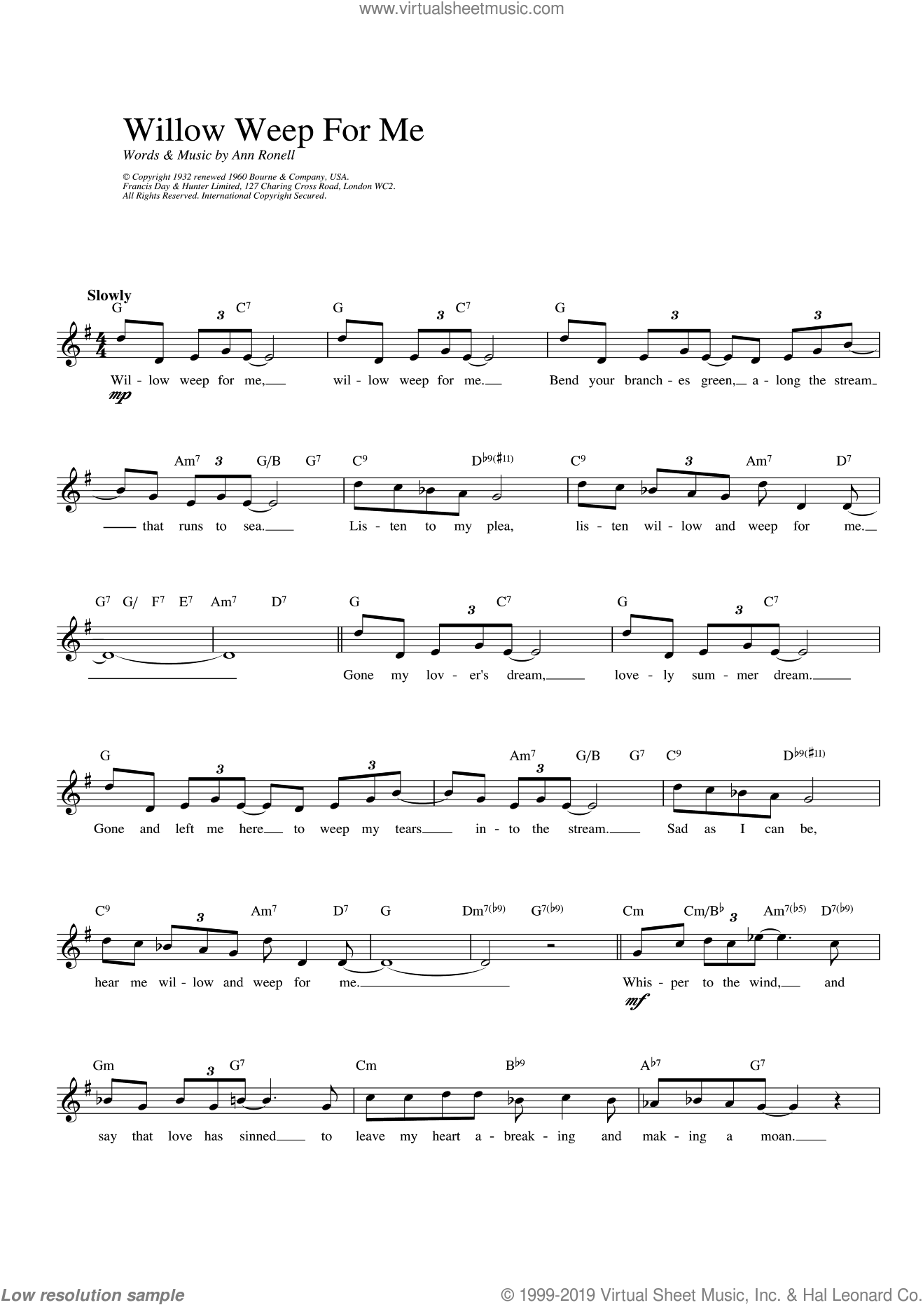 Willow Weep For Me sheet music for voice and other instruments (fake book) by Ann Ronell, intermediate voice. Score Image Preview.