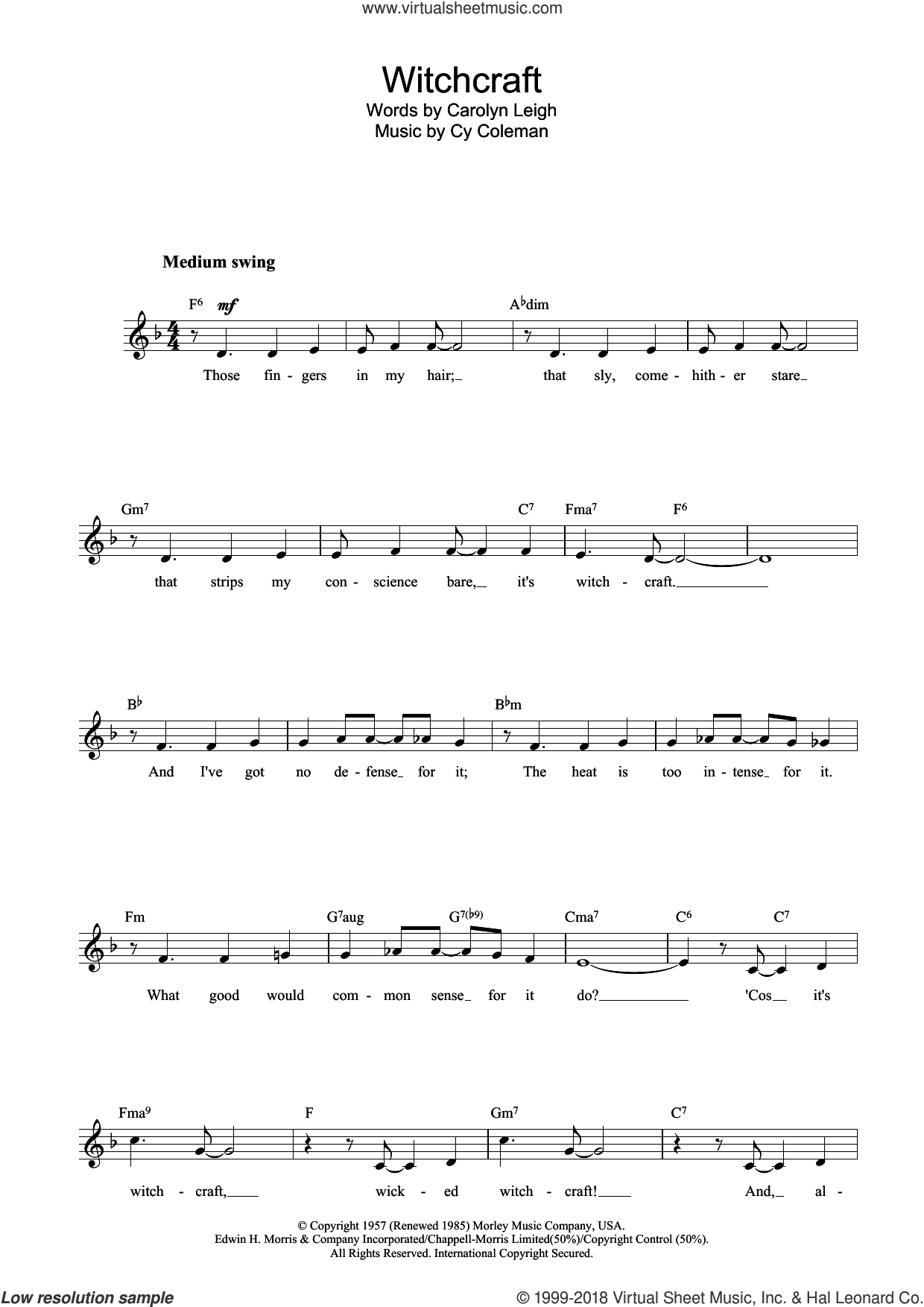 Witchcraft sheet music for voice and other instruments (fake book) by Cy Coleman and Carolyn Leigh, intermediate. Score Image Preview.