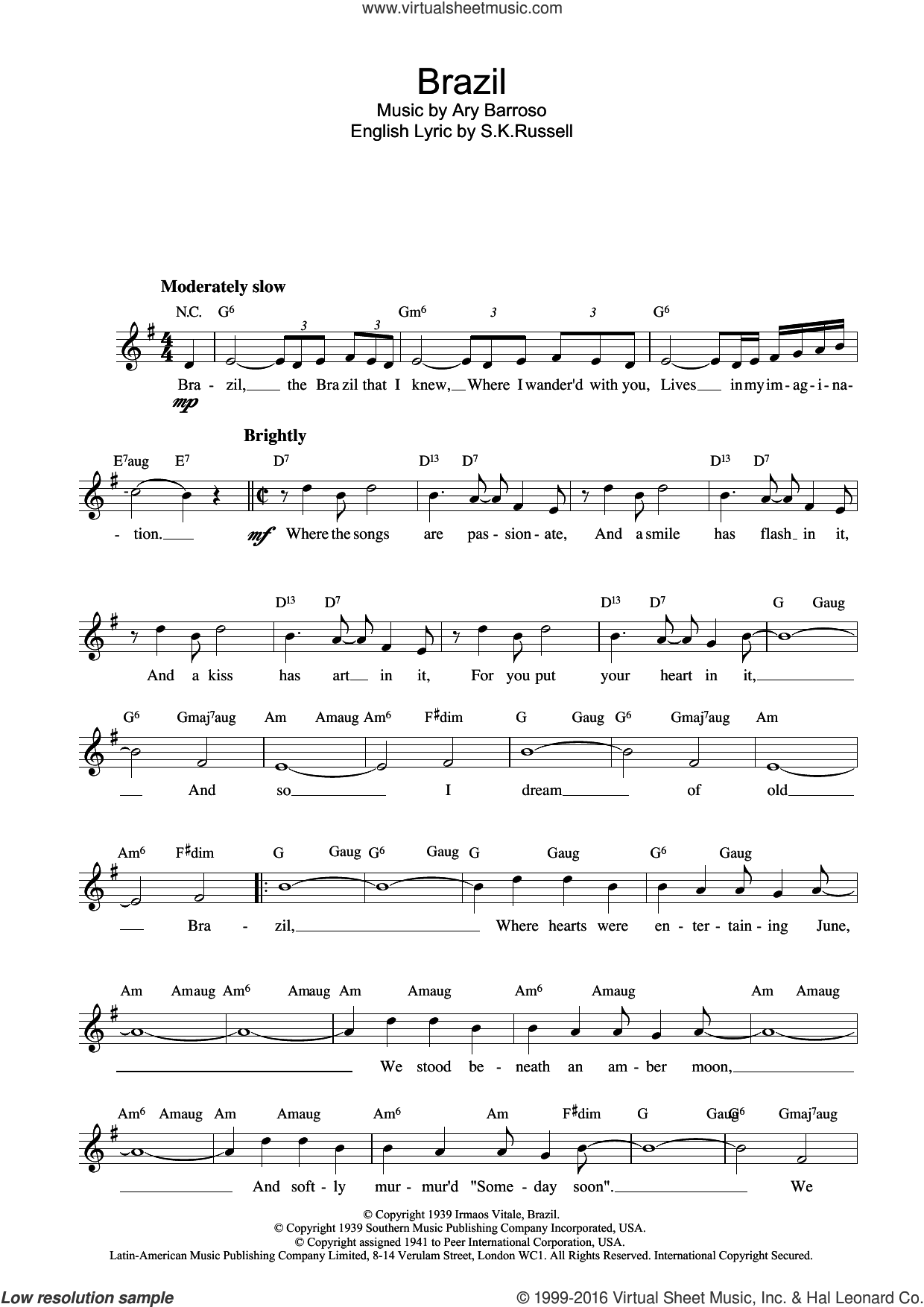 Brazil sheet music for voice and other instruments (fake book) by Sidney Russell and Ary Barroso. Score Image Preview.