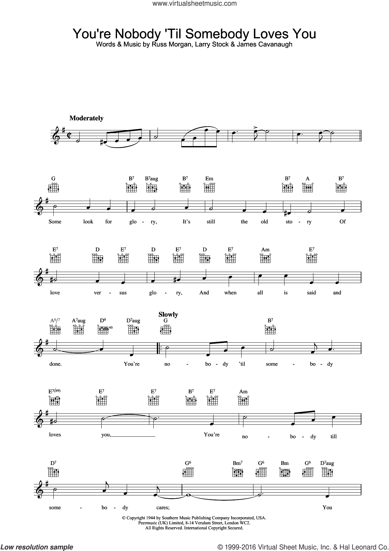 You're Nobody Till Somebody Loves You sheet music for voice and other instruments (fake book) by Nat King Cole and Russ Morgan, intermediate. Score Image Preview.