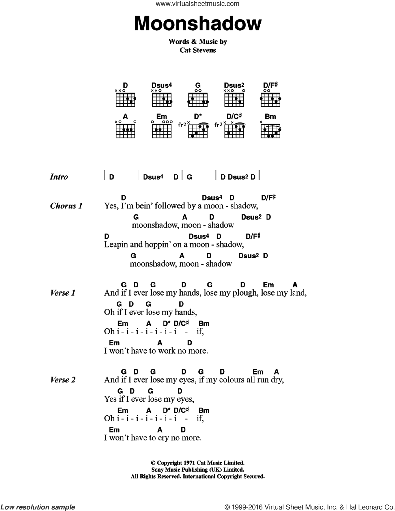 Moonshadow sheet music for guitar (chords) by Cat Stevens, intermediate. Score Image Preview.