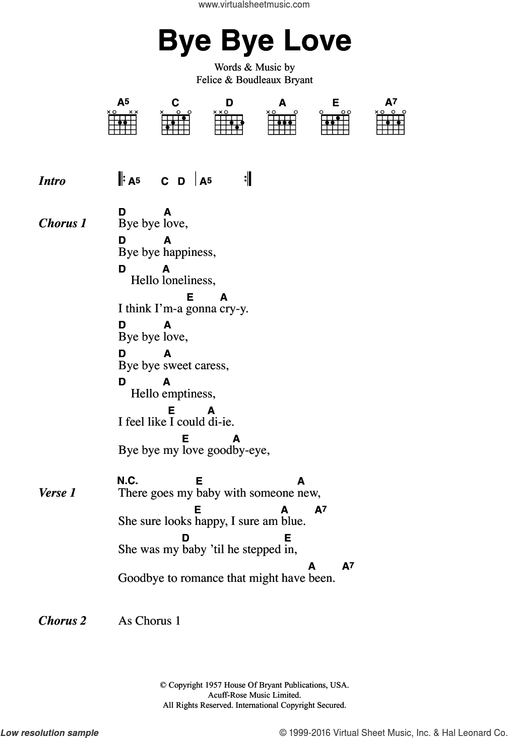 Bye Bye Love sheet music for guitar (chords) by The Everly Brothers, Boudleaux Bryant and Felice Bryant, intermediate skill level