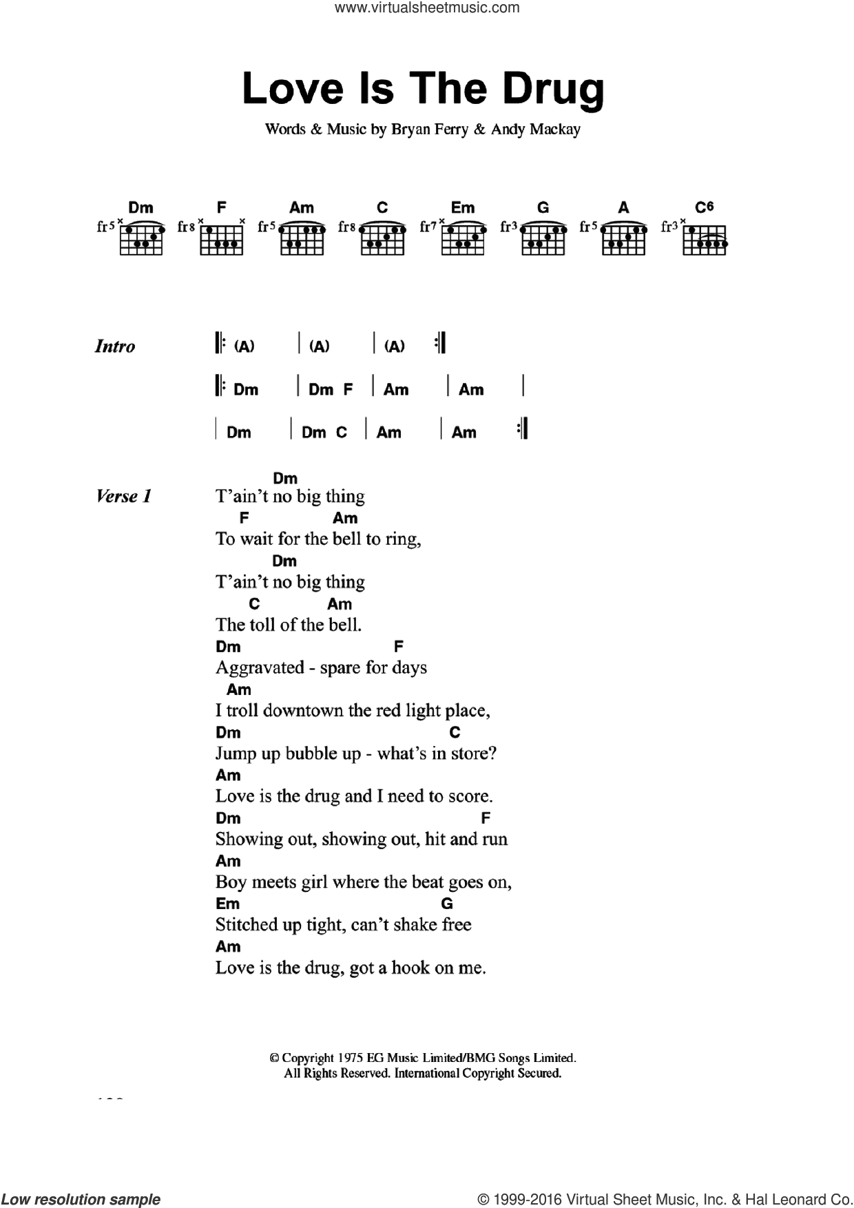 Love Is The Drug sheet music for guitar (chords) by Bryan Ferry, Roxy Music and Andy Mackay. Score Image Preview.
