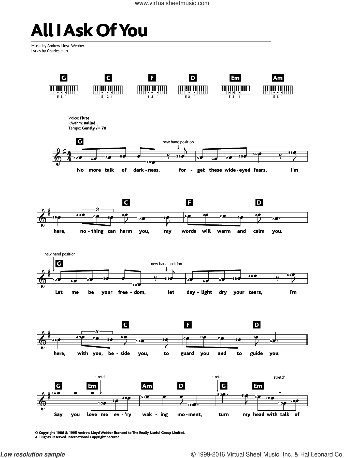 All I Ask Of You (from The Phantom Of The Opera) sheet music for piano solo (chords, lyrics, melody) by Andrew Lloyd Webber, Charles Hart and Richard Stilgoe, intermediate piano (chords, lyrics, melody)