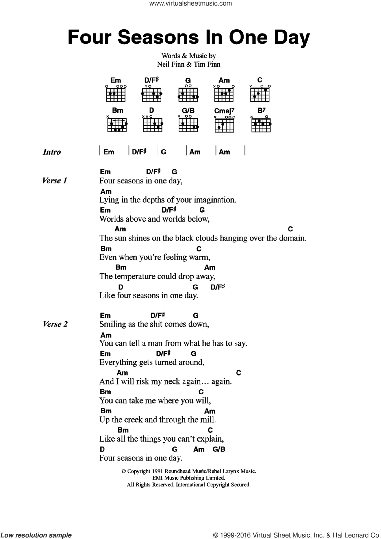 Four Seasons In One Day sheet music for guitar (chords) by Tim Finn, Crowded House and Neil Finn. Score Image Preview.