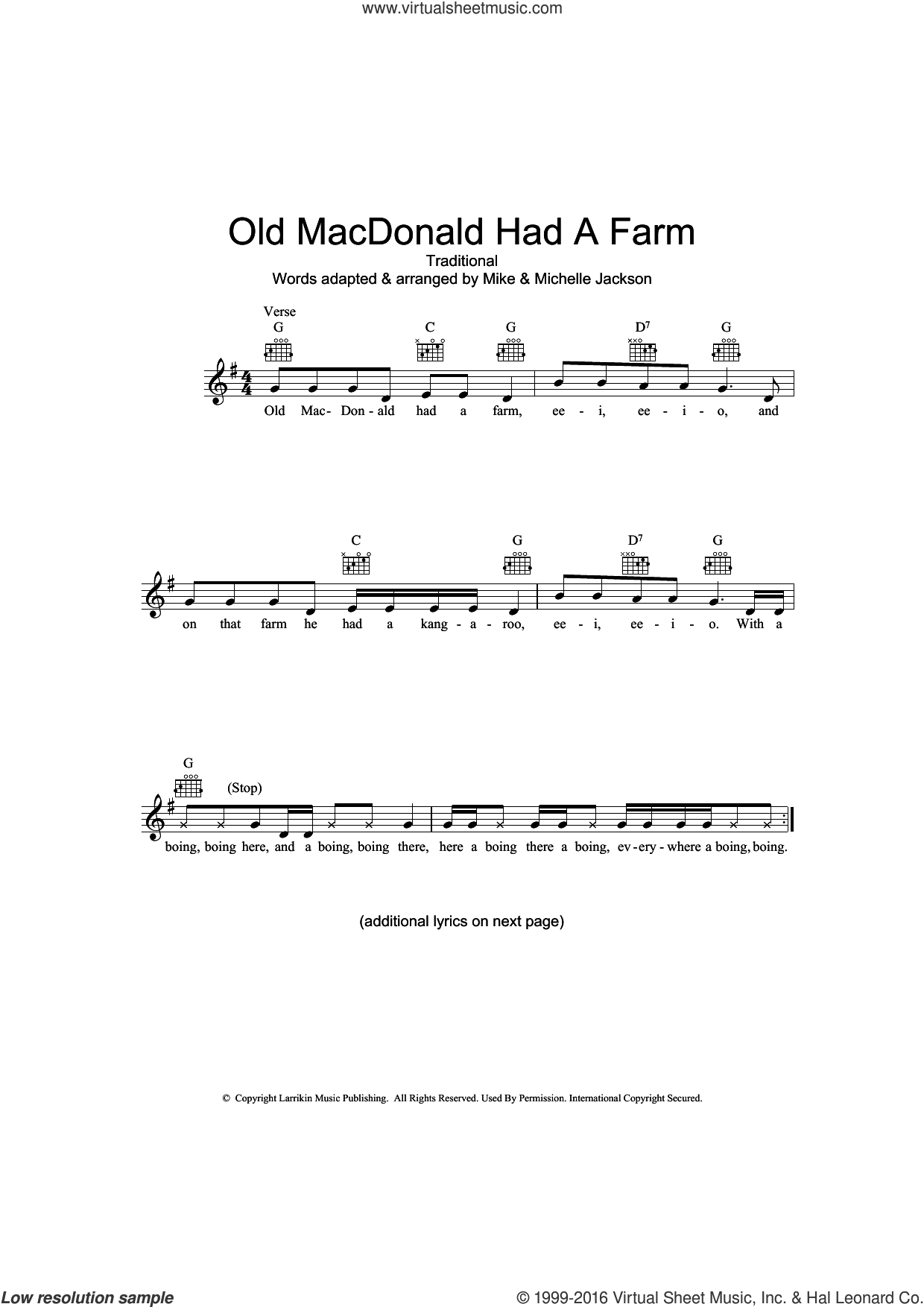 Old MacDonald Had A Farm (Australian version) sheet music for voice and other instruments (fake book). Score Image Preview.