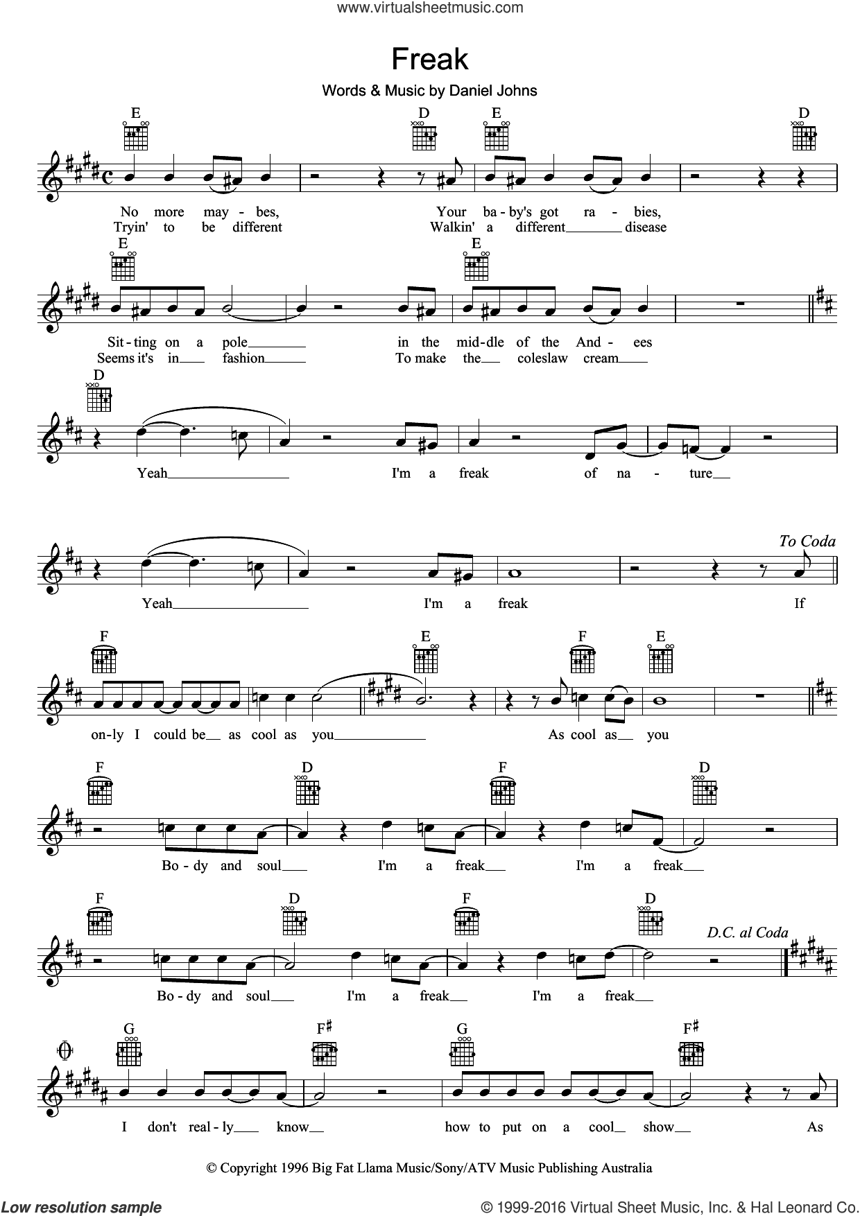 Freak sheet music for voice and other instruments (fake book) by Silverchair. Score Image Preview.