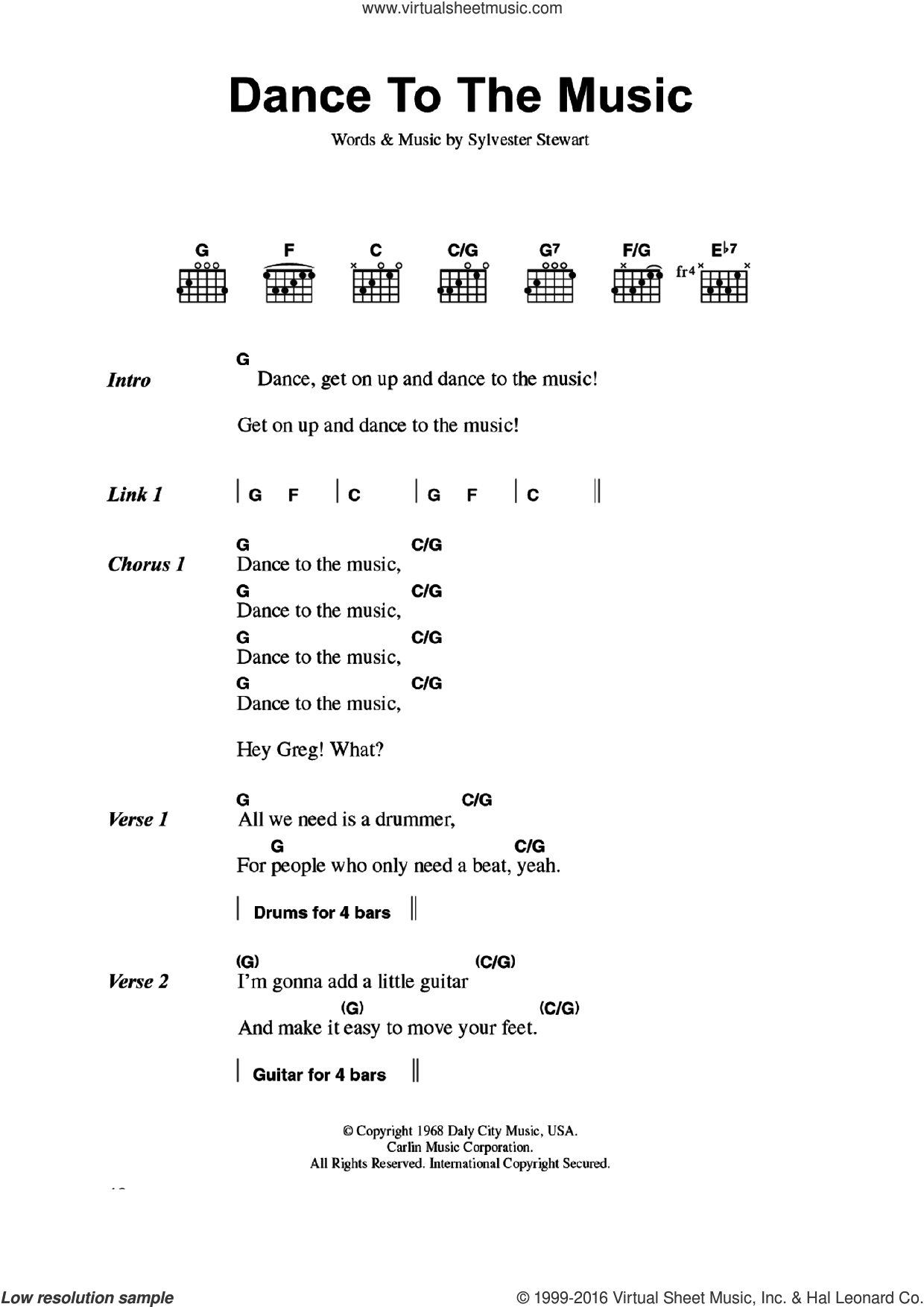Dance To The Music sheet music for guitar (chords) by Sly & The Family Stone and Sylvester Stewart, intermediate skill level