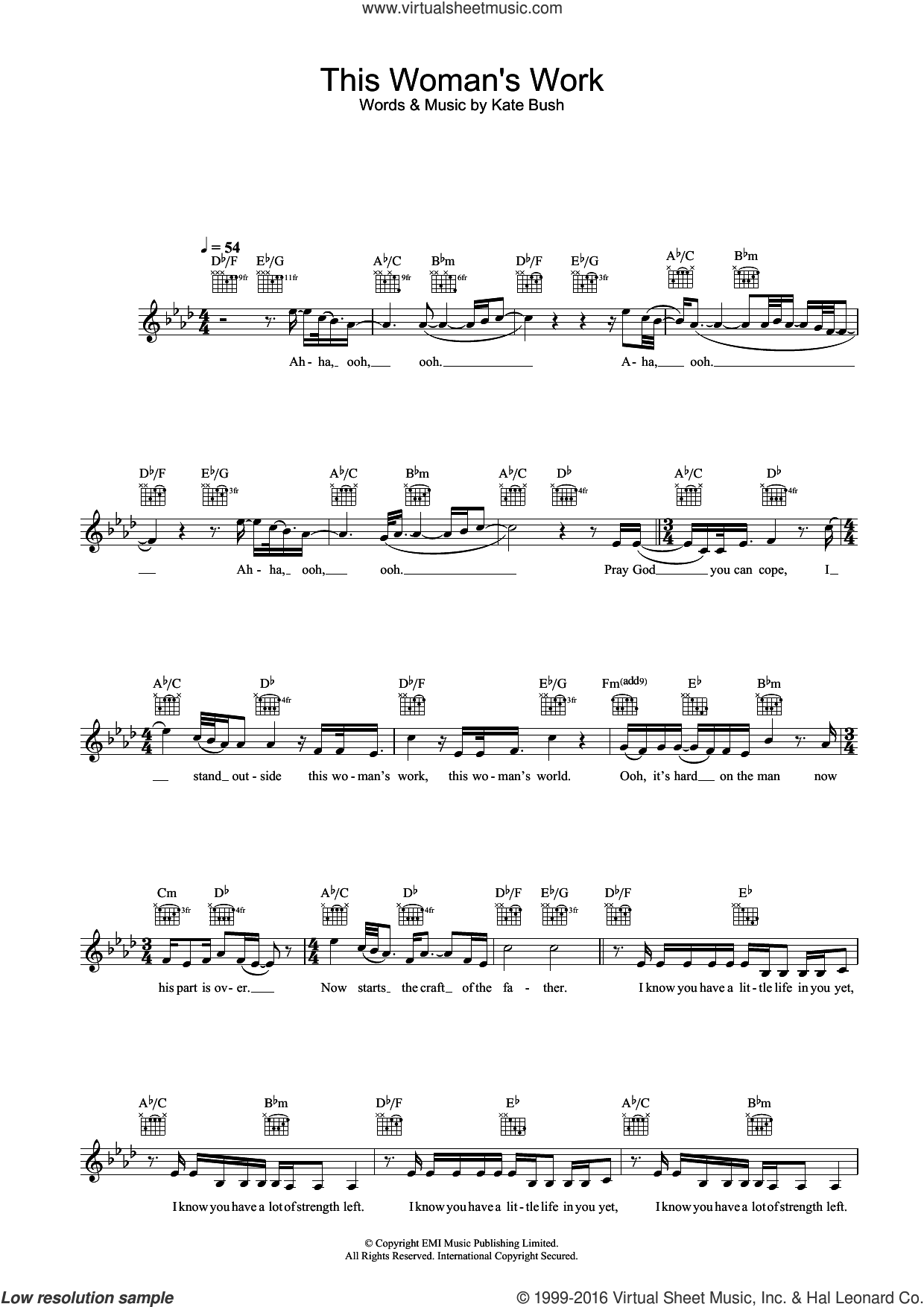 This Woman's Work (from She's Having A Baby) sheet music for voice and other instruments (fake book) by Kate Bush. Score Image Preview.