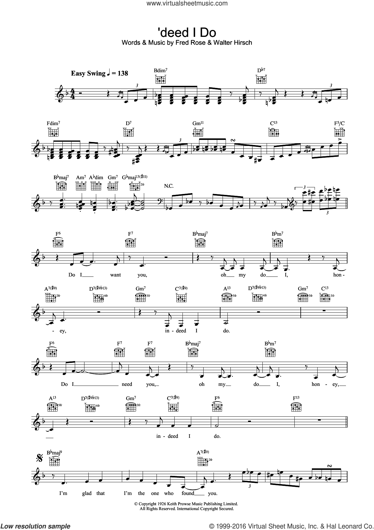 'deed I Do sheet music for voice and other instruments (fake book) by Diana Krall, Fred Rose and Walter Hirsch, intermediate. Score Image Preview.