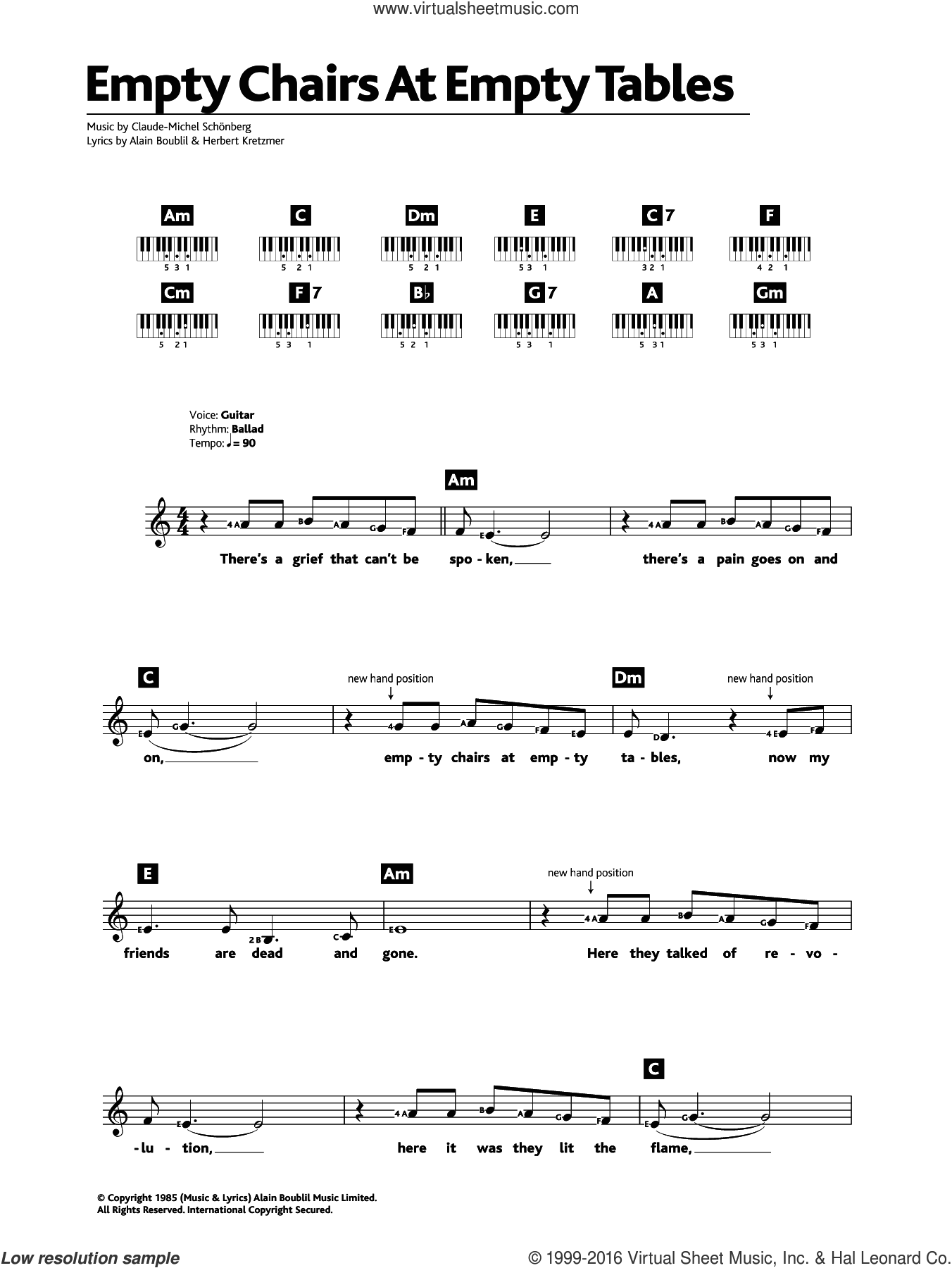 Empty Chairs At Empty Tables (from Les Miserables) sheet music for piano solo (chords, lyrics, melody) by Claude-Michel Schonberg, Alain Boublil and Herbert Kretzmer. Score Image Preview.