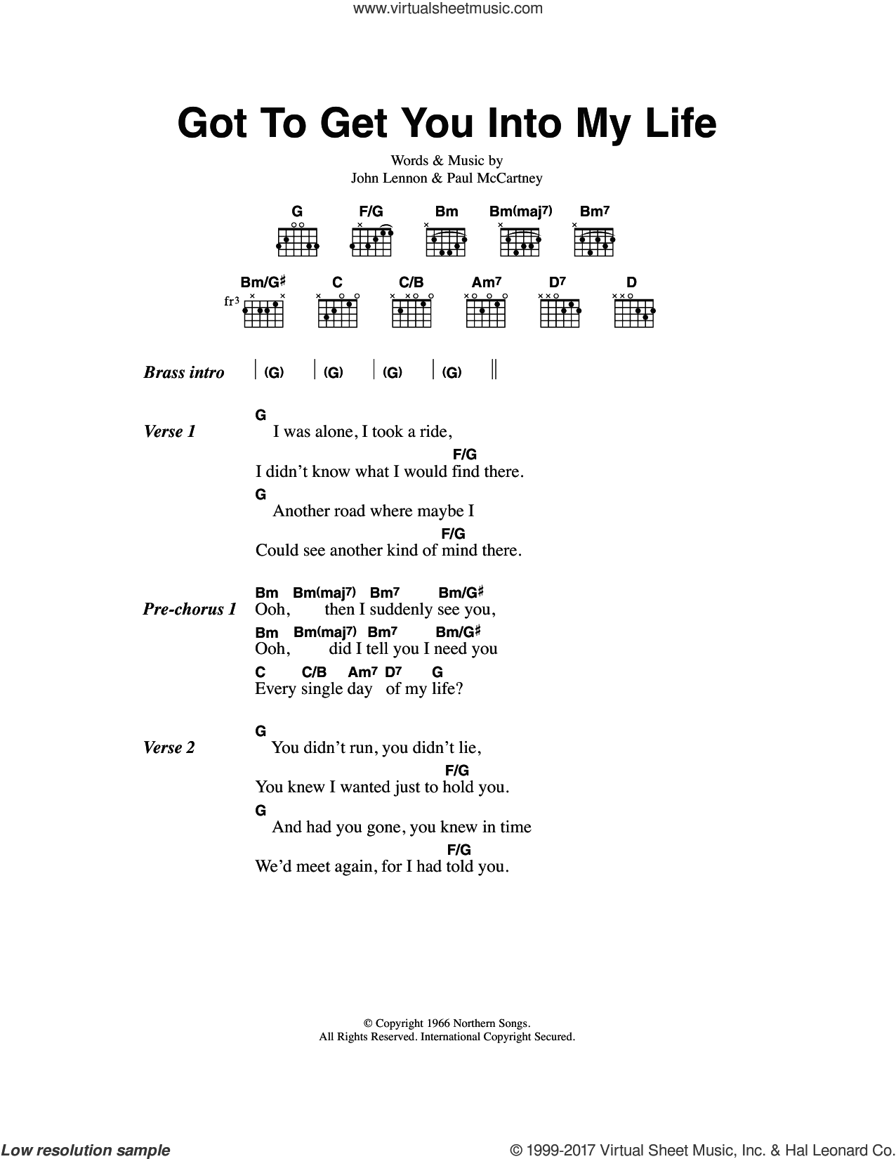 Beatles   Got To Get You Into My Life sheet music for guitar chords
