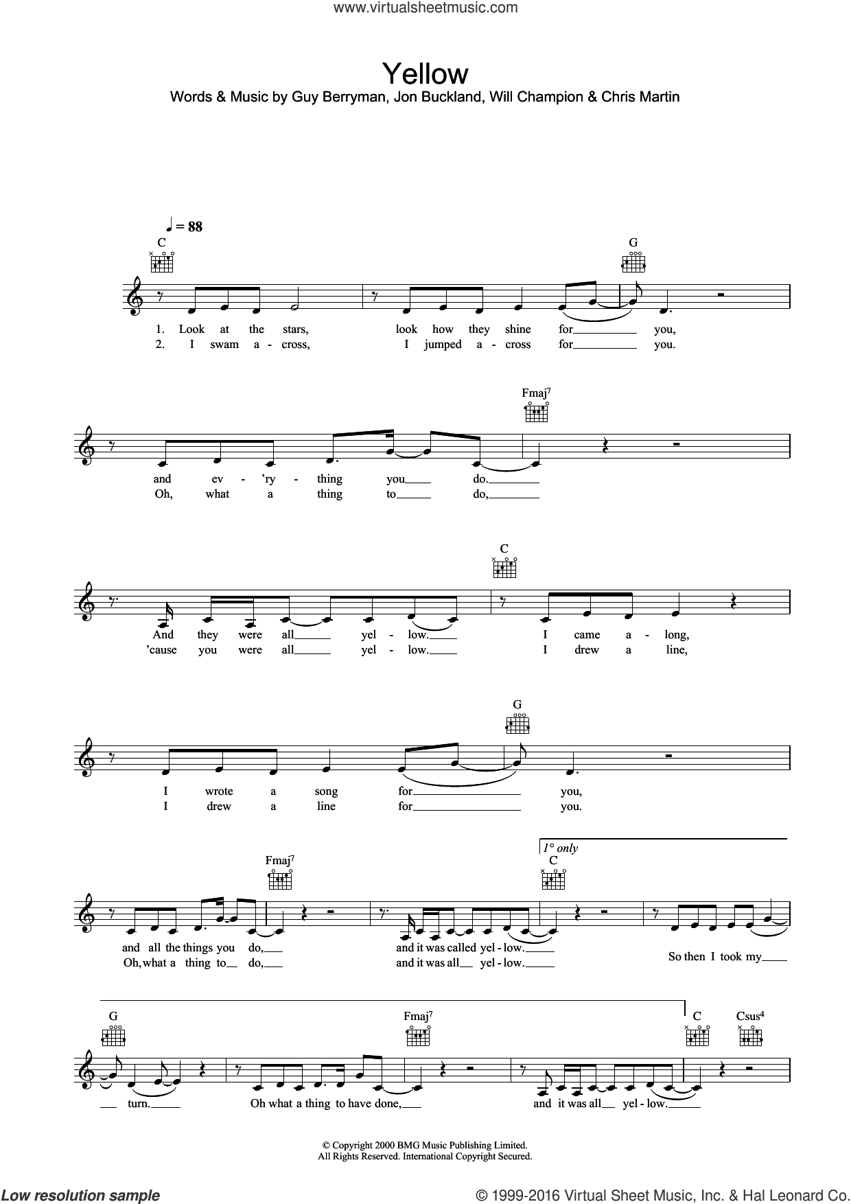 Yellow sheet music for voice and other instruments (fake book) by Guy Berryman, Alex Parks, Jonny Buckland and Will Champion, intermediate skill level