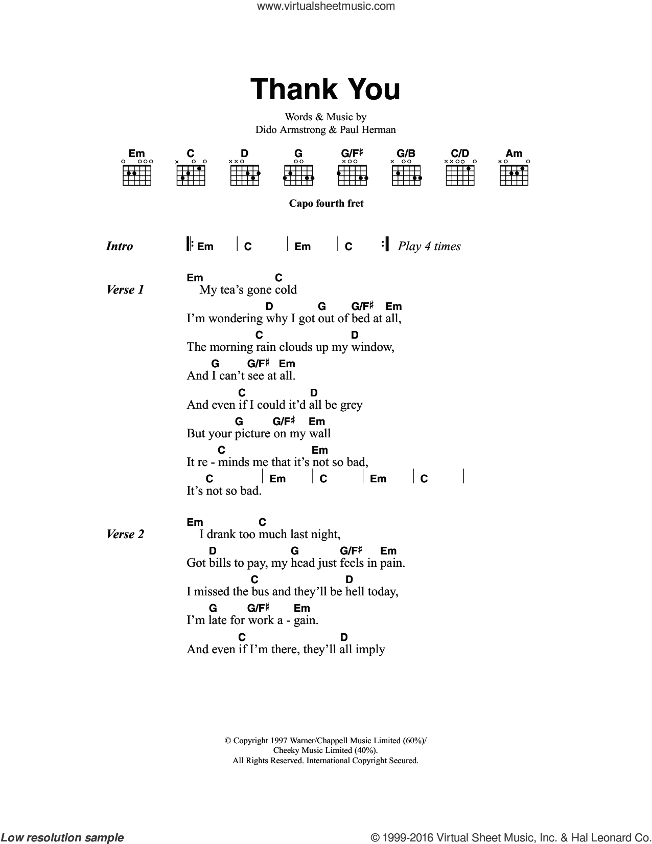 Thank You sheet music for guitar (chords) by Dido Armstrong and Paul Herman, intermediate skill level